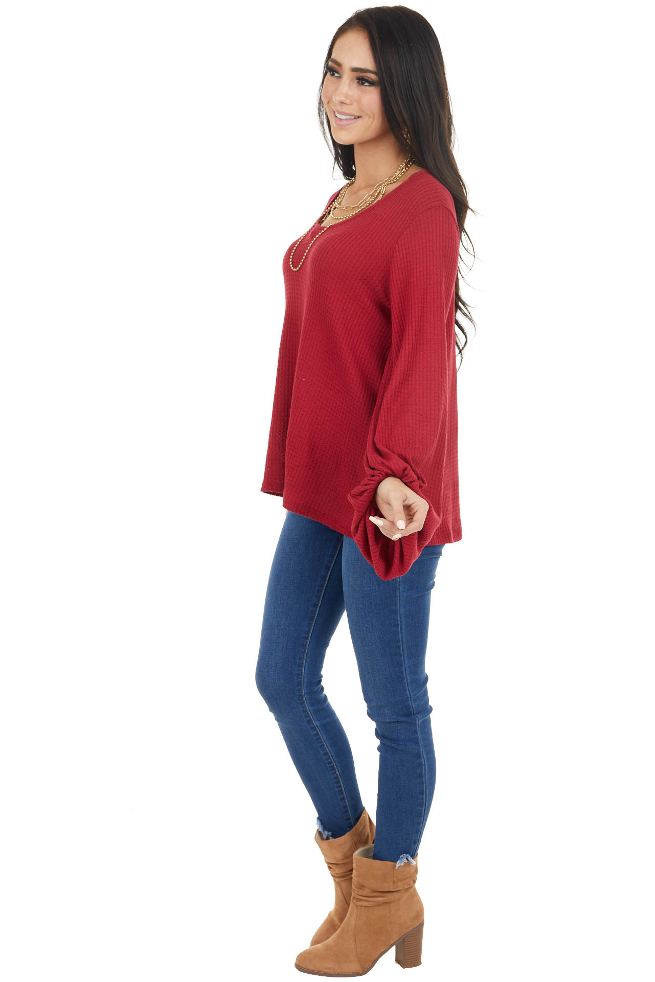 Ruby Red Waffle Knit Top with Long Bubble Sleeves