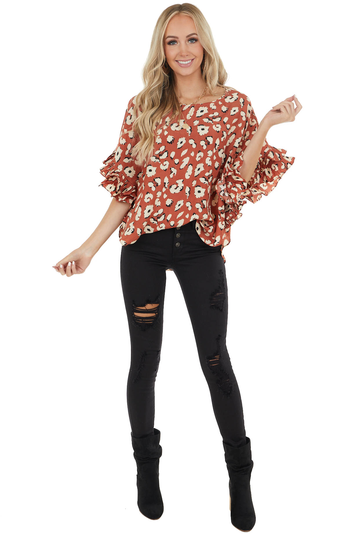 Terracotta Leopard Print Blouse with 3/4 Ruffle Sleeves