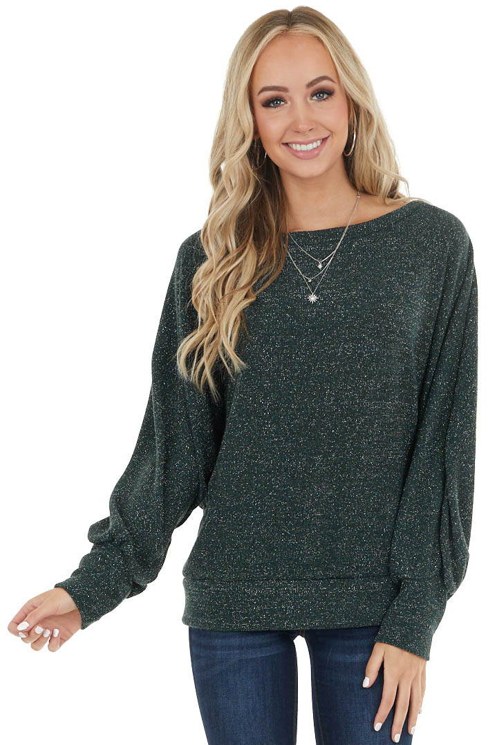 Forest Green Dolman Sleeve Top with Sparkle Thread Detail