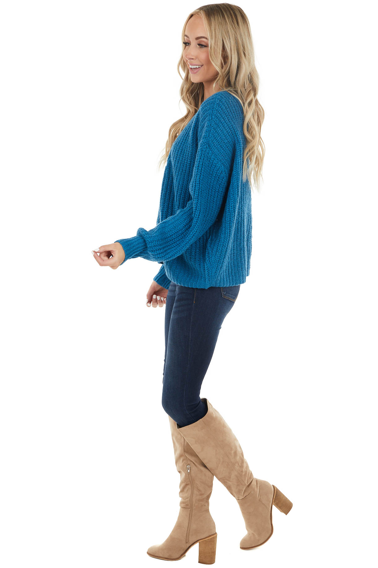 Dark Teal Oversized Button Up Cardigan with Bubble Sleeves
