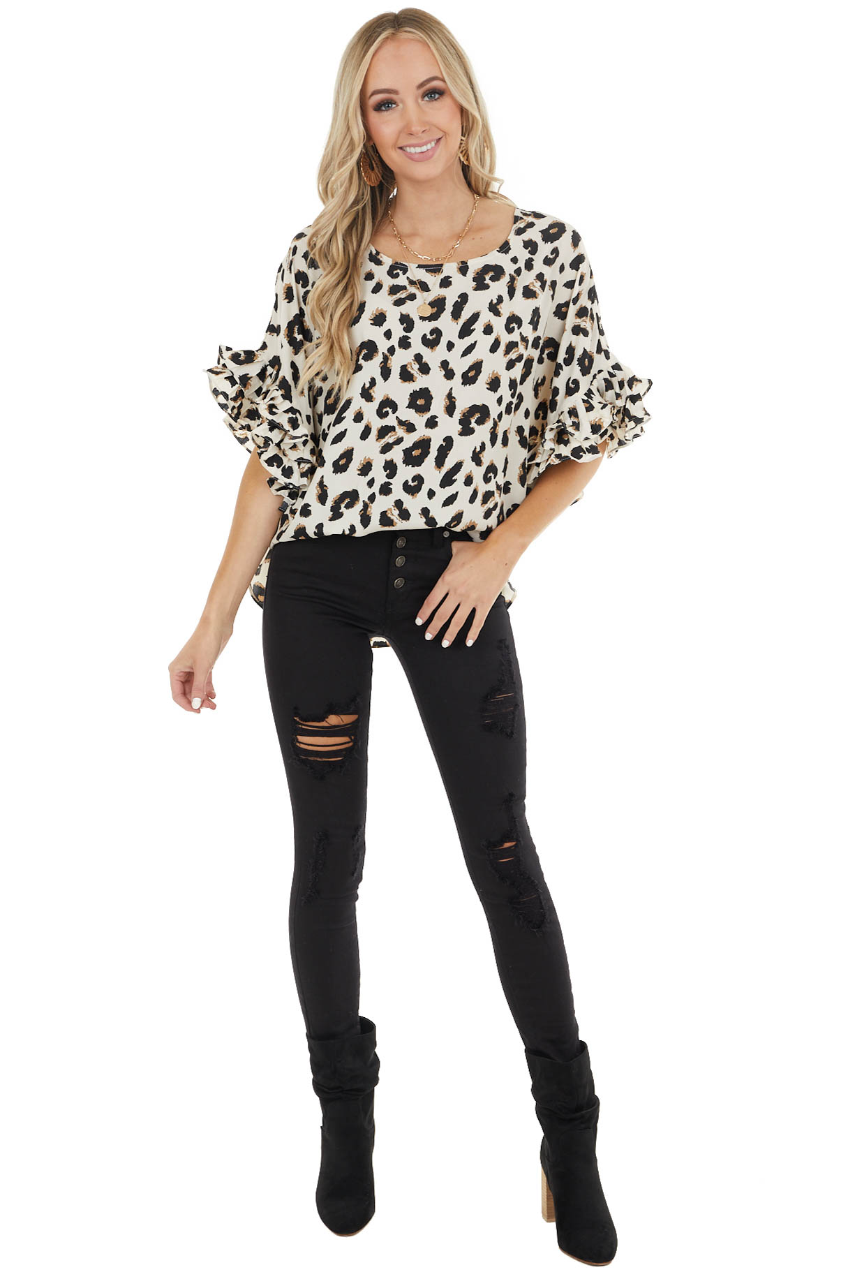 Oatmeal Leopard Print Blouse with 3/4 Ruffle Sleeves