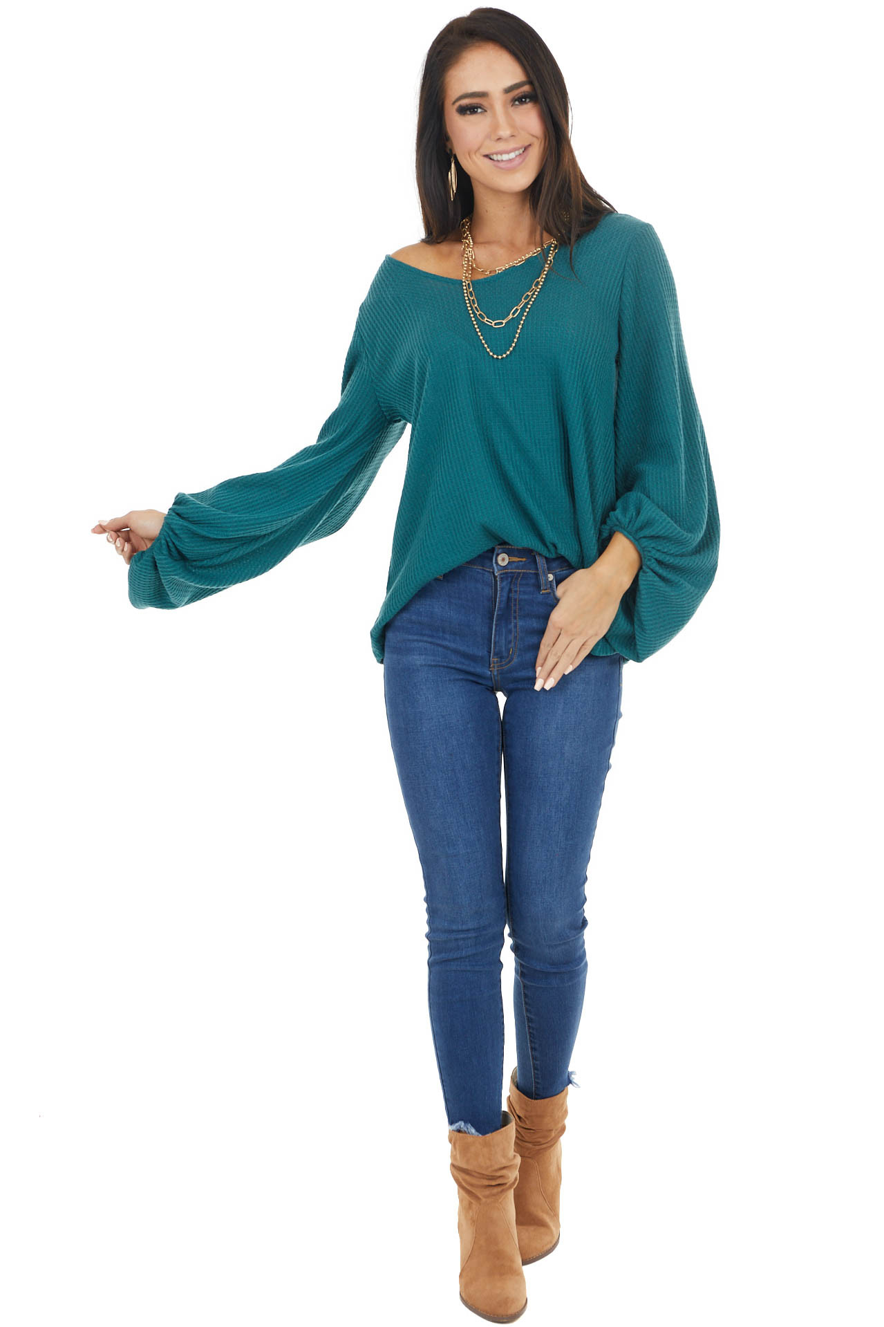 Pine Green Waffle Knit Top with Long Bubble Sleeves