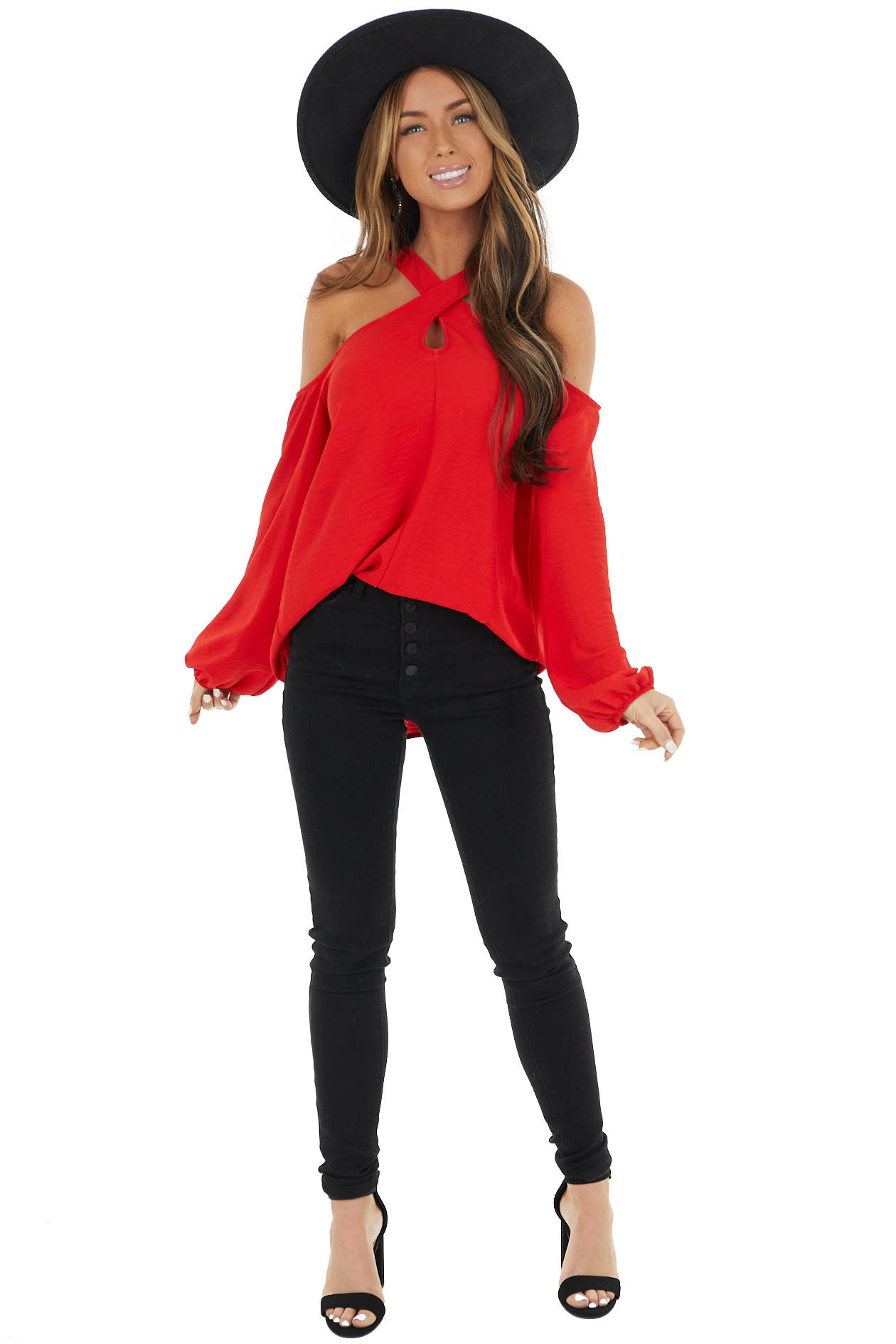 Cherry Woven Cold Shoulder Long Sleeve Top with Crossed Neck