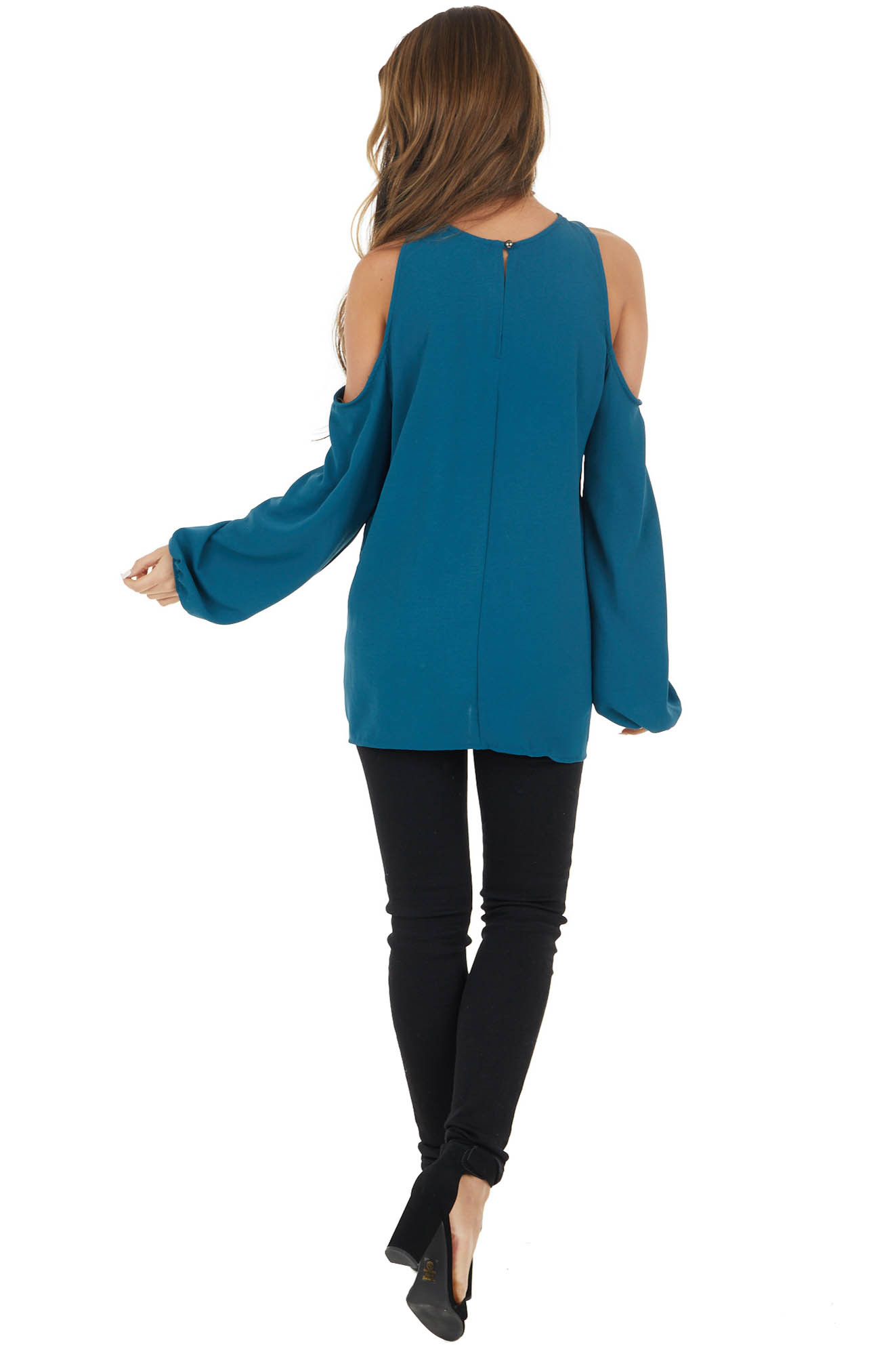 Dark Teal Cold Shoulder Long Sleeve Top with Crossed Neck