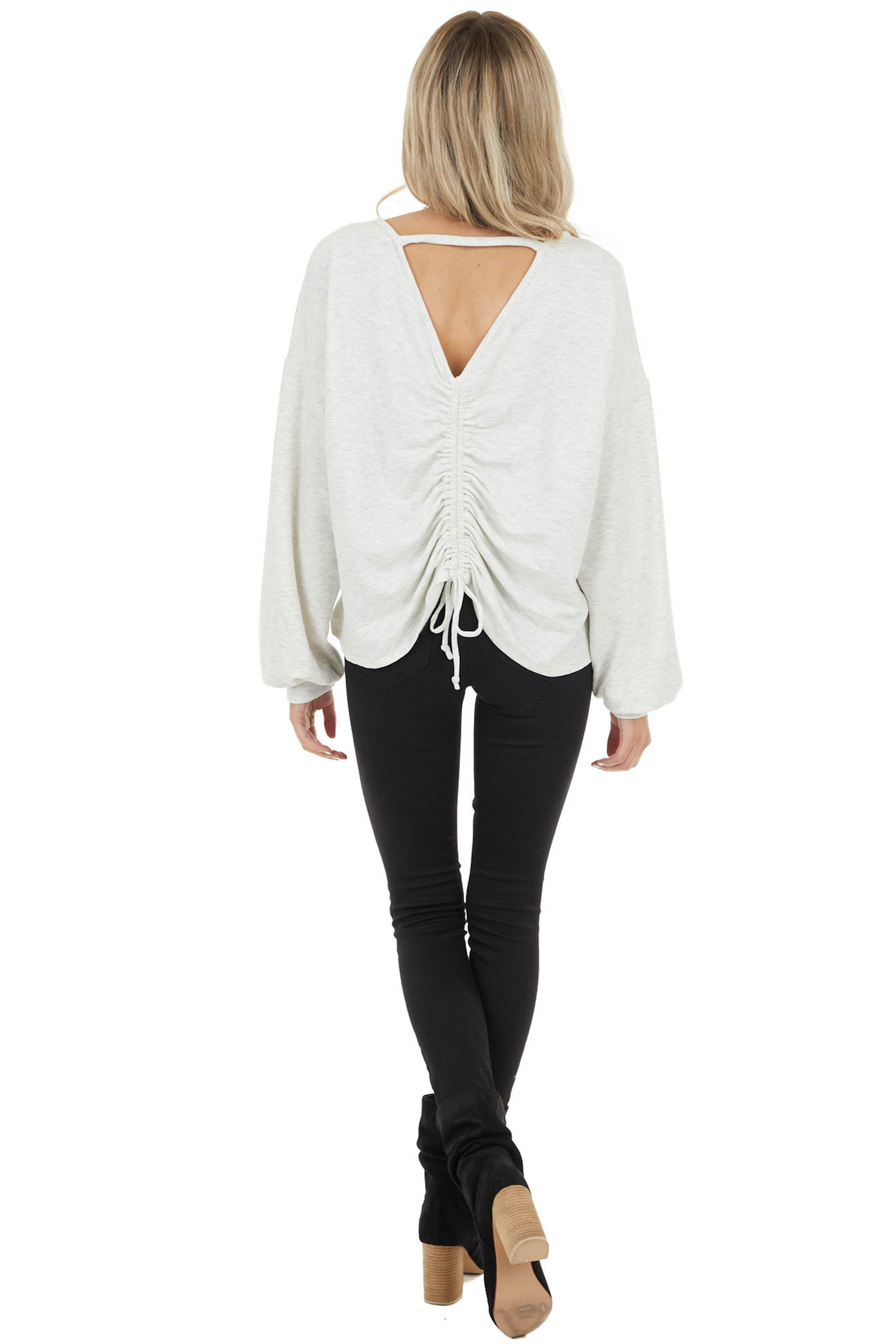 Ivory Long Sleeve Knit Top with Drawstring Back Detail