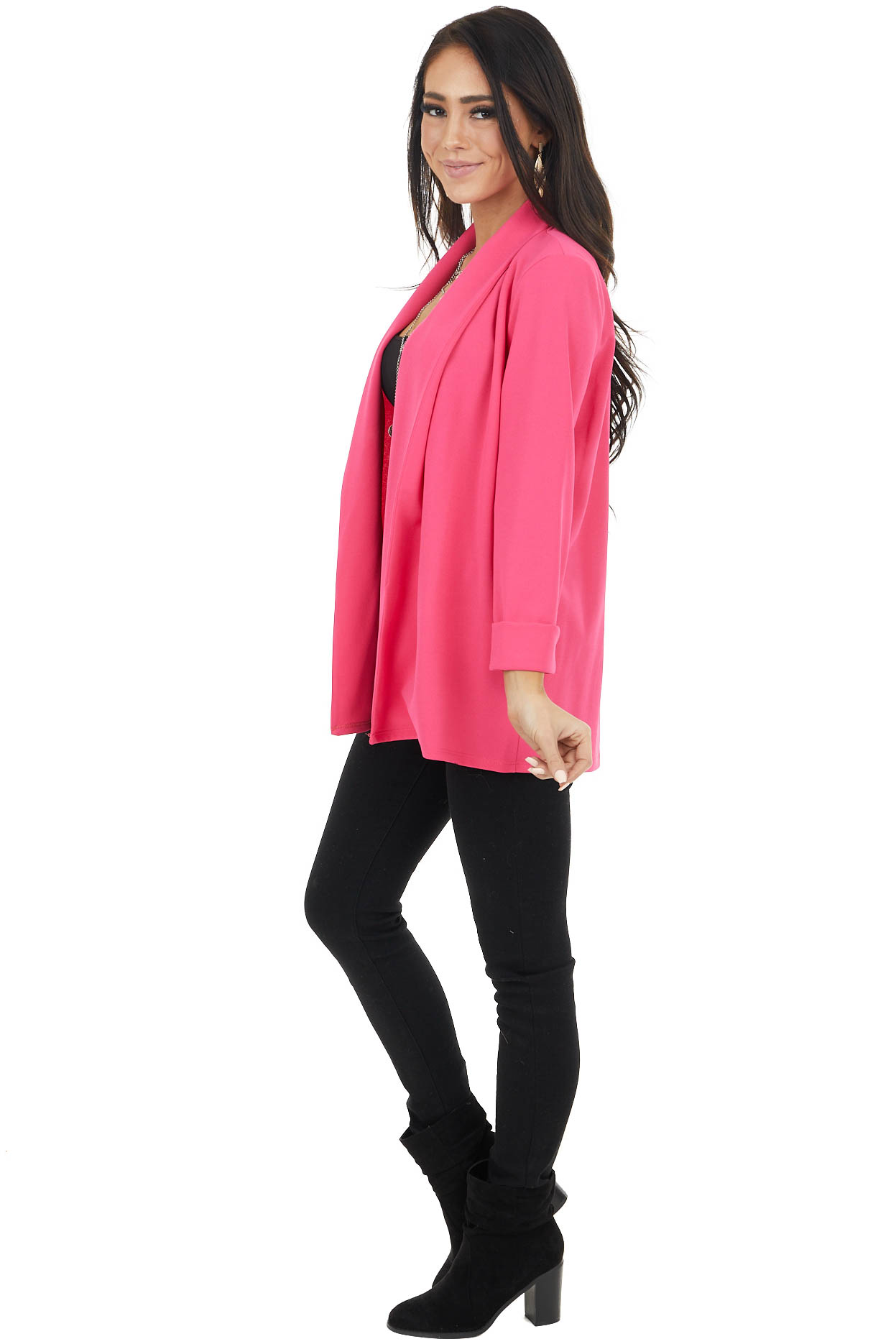 Hot Pink Cuff Sleeve Open Front Blazer with Folded Collar