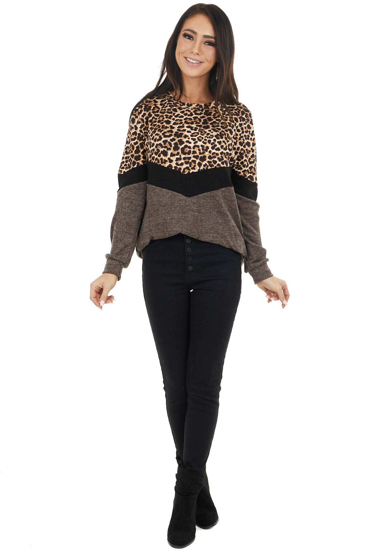 Cocoa and Leopard Print Colorblock Long Sleeve Top