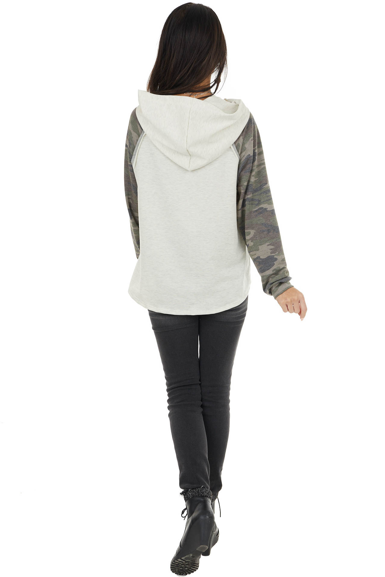 Oatmeal Hoodie Knit Top with Camo Print Contrast Sleeves