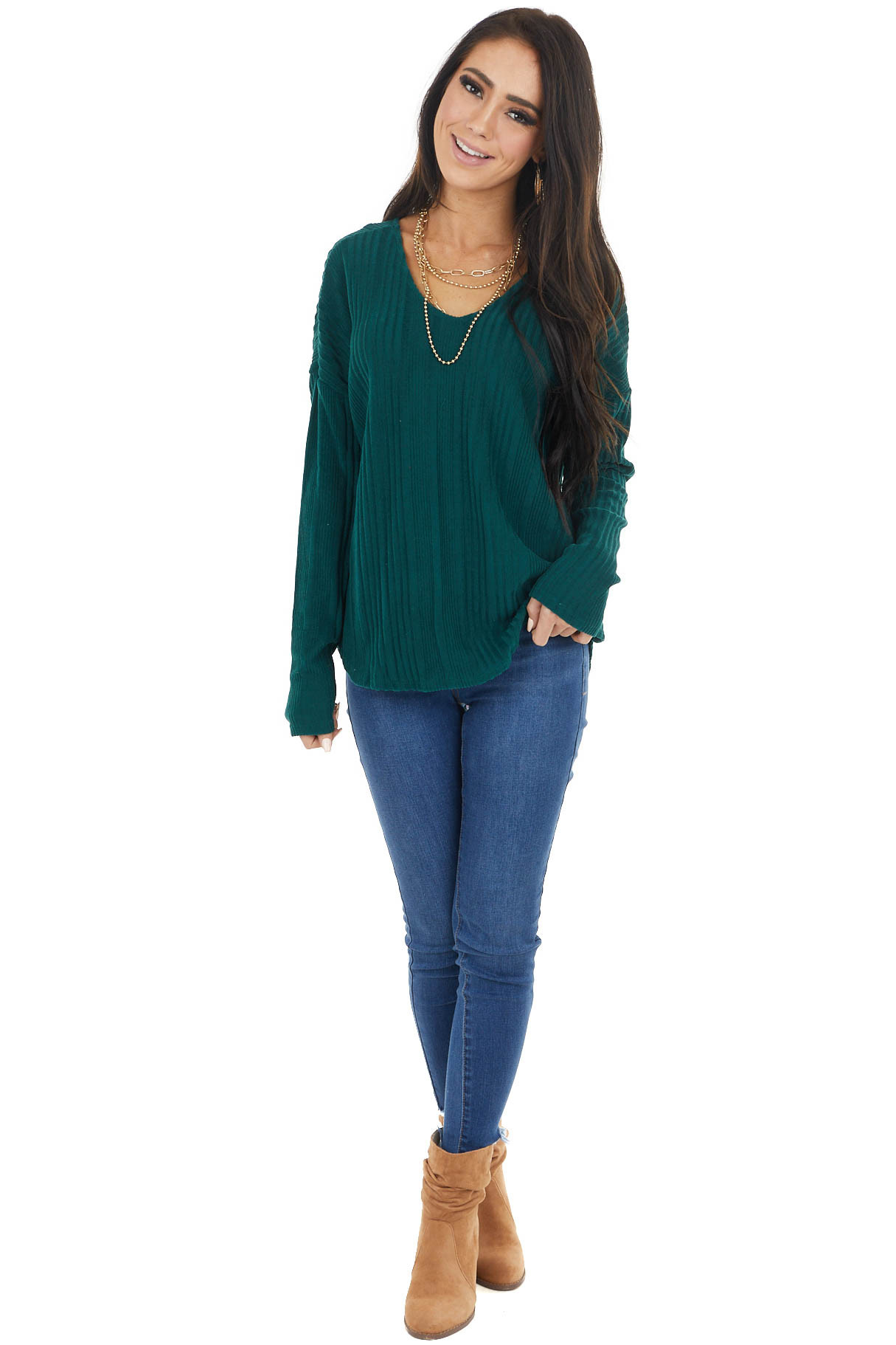 Dark Pine Long Sleeve Wide Neck Knit Top with Ribbed Detail