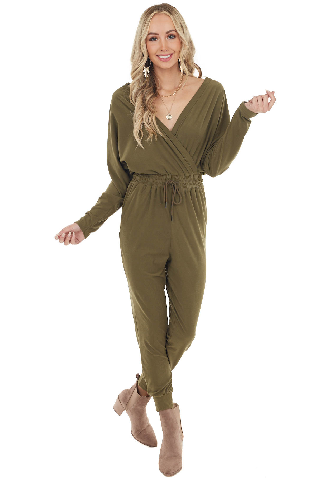Olive Long Sleeve Surplice Jumpsuit with Side Pockets