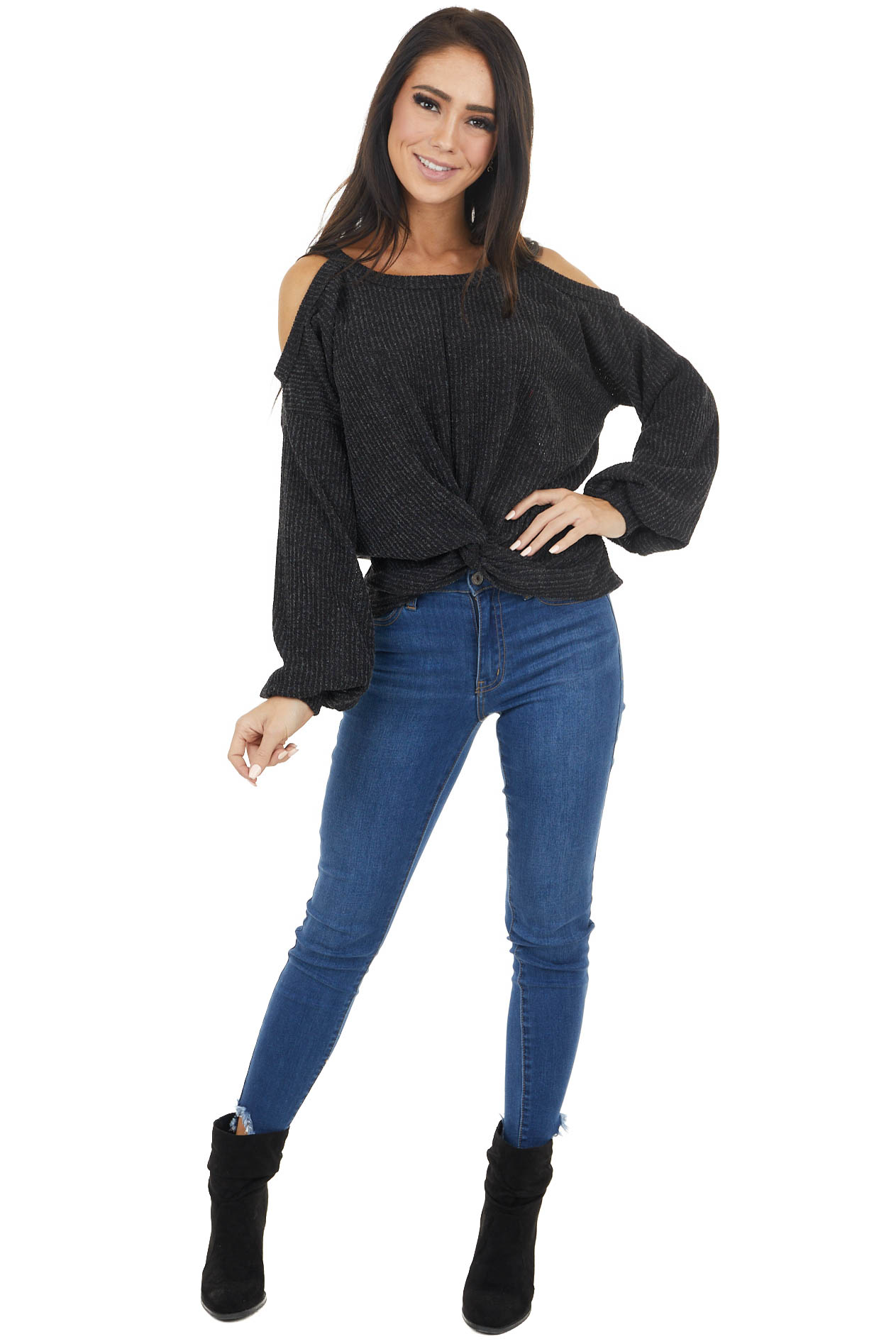 Charcoal Two Tone Long Sleeve Knit Top with Cold Shoulders