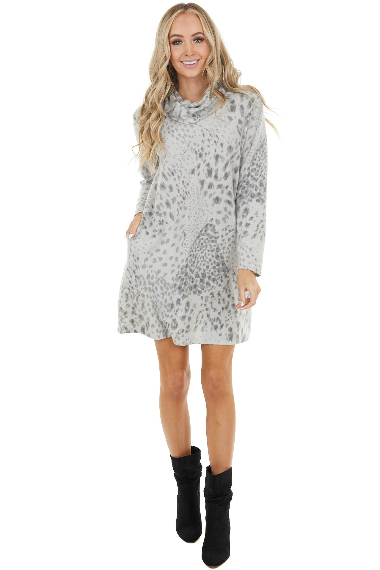 Heather Grey Leopard Print Cowl Neck Dress with Pockets