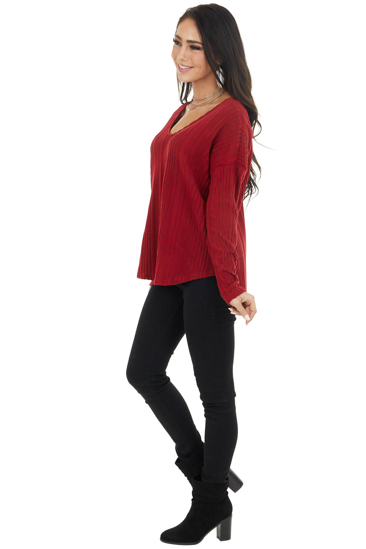 Maroon Long Sleeve Wide Neck Knit Top with Ribbed Detail