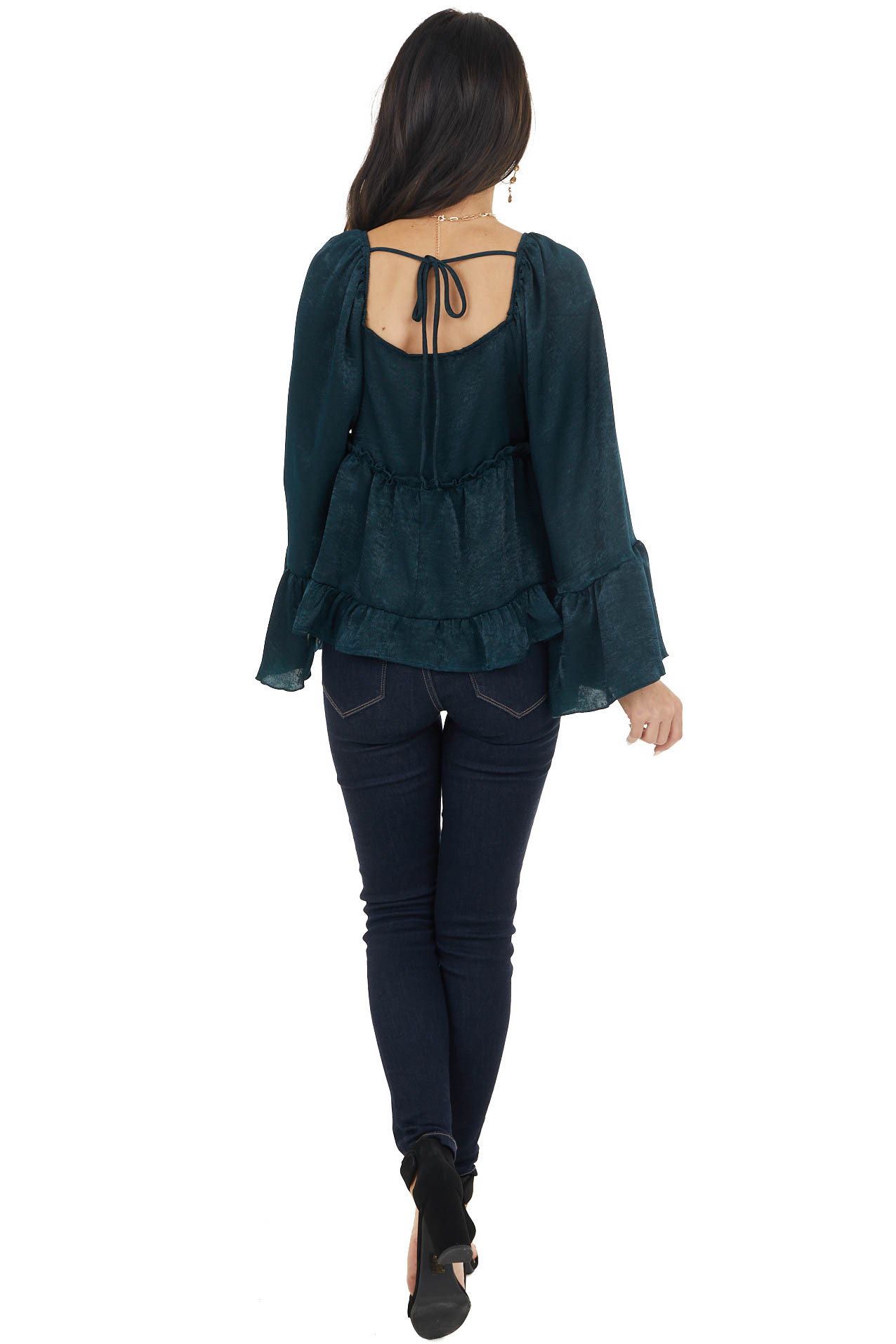 Dark Emerald Green Long Sleeve Top with Tiered Ruffle Detail