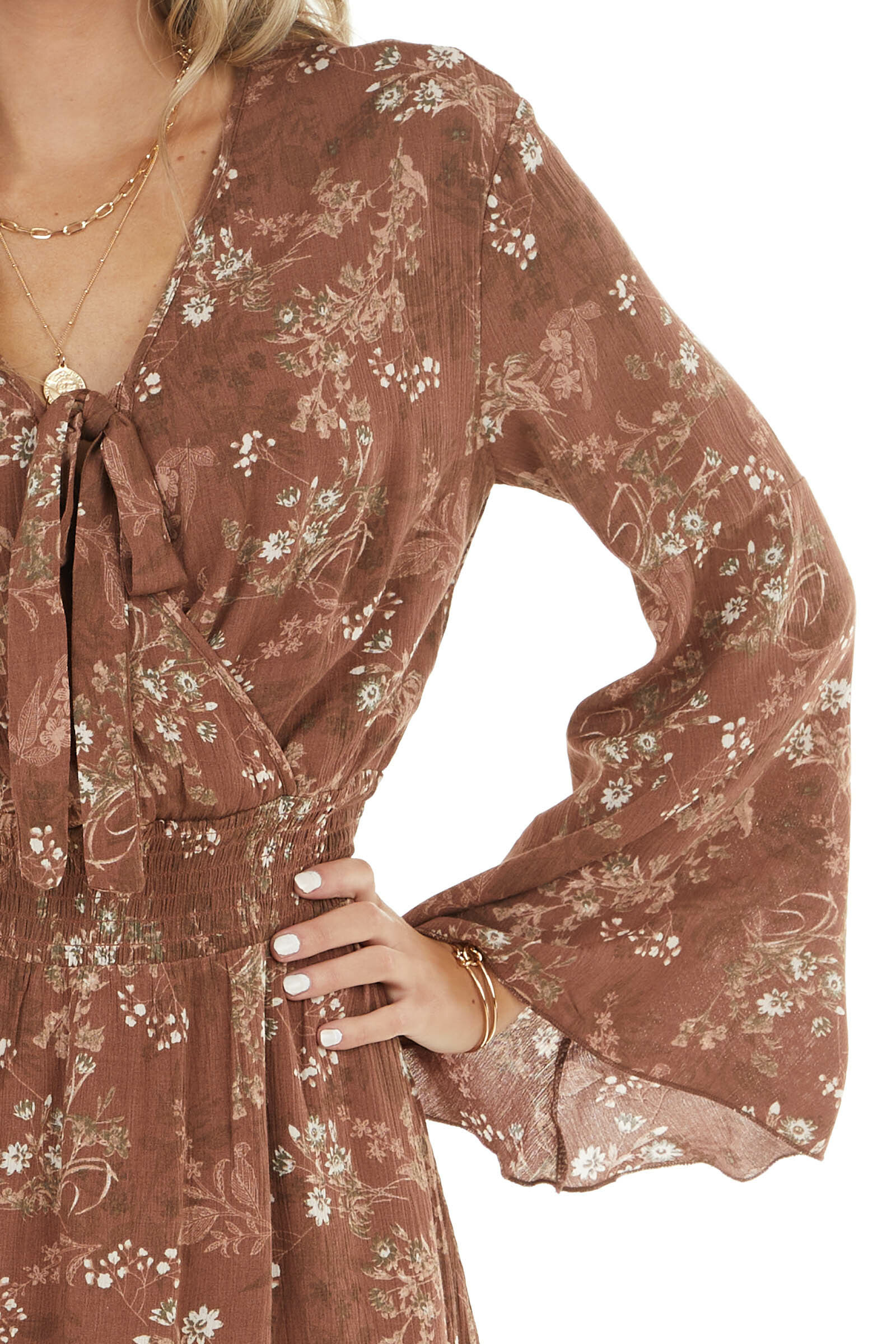 Chocolate Floral Print Long Sleeve Mini Dress with Surplice
