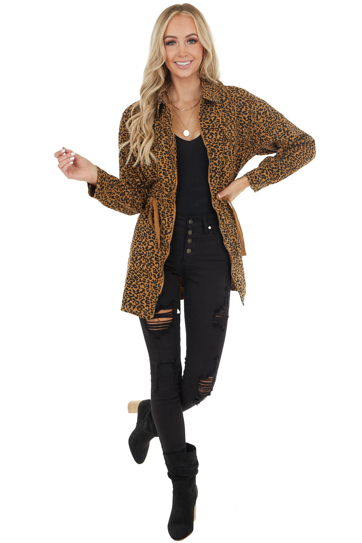 Camel and Black Leopard Print Jacket with Drawstring Waist