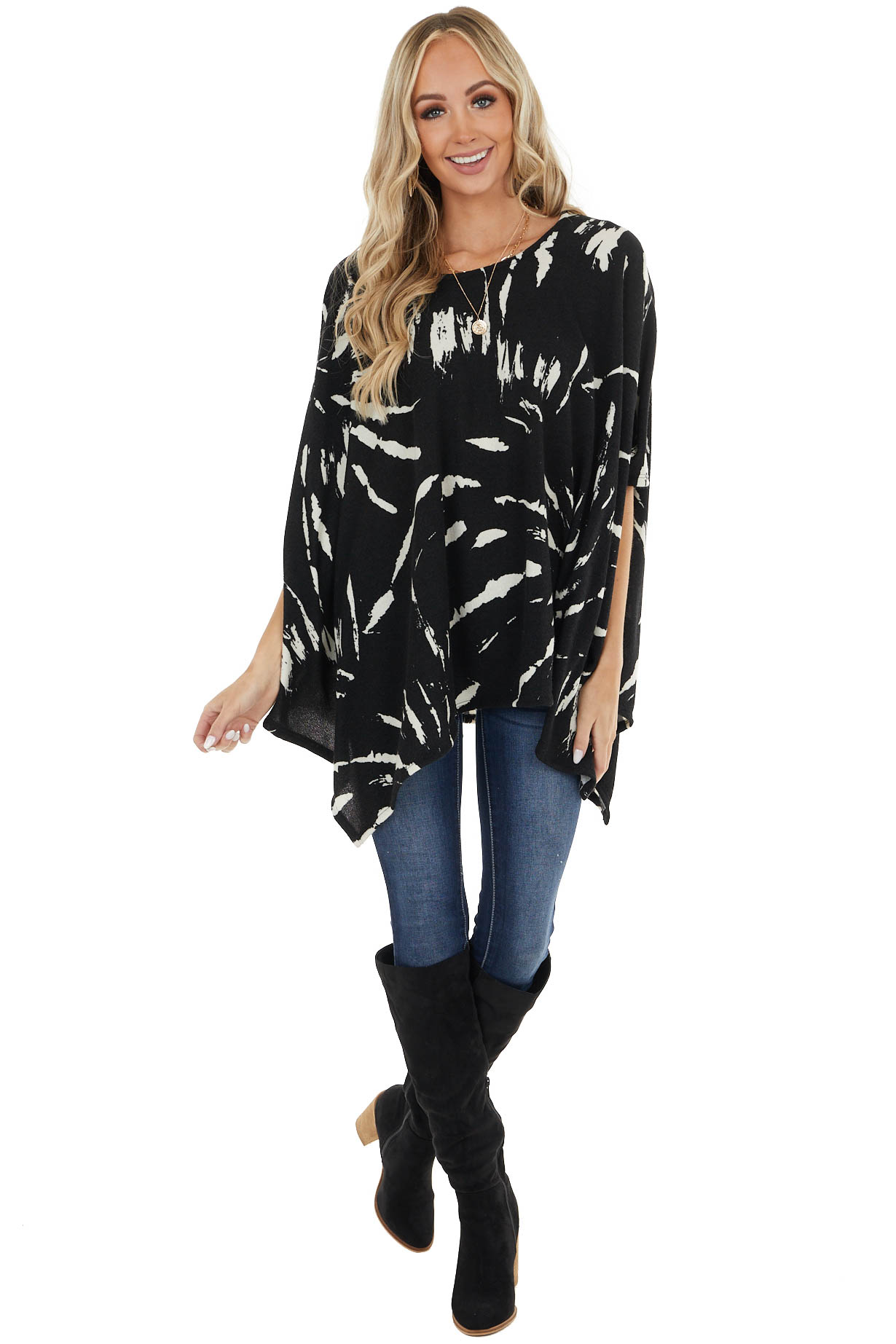 Black and Ivory Tie Dye Print Knit Poncho with Side Slits