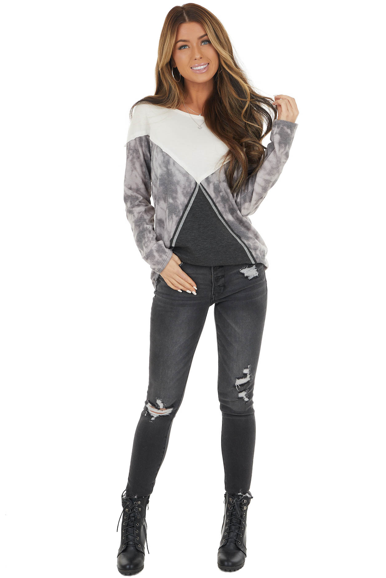 Charcoal and Ivory Colorblock Long Sleeve Knit Top