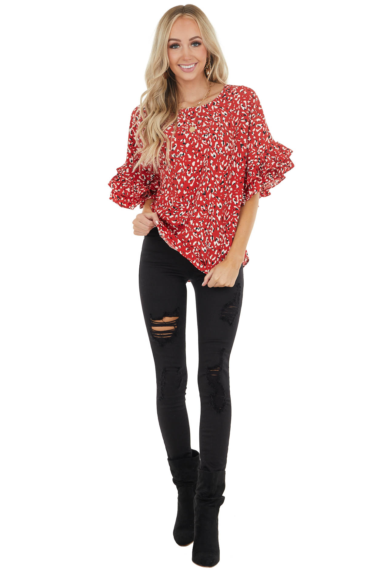 Cherry Red Leopard Print Blouse with 3/4 Ruffle Sleeves