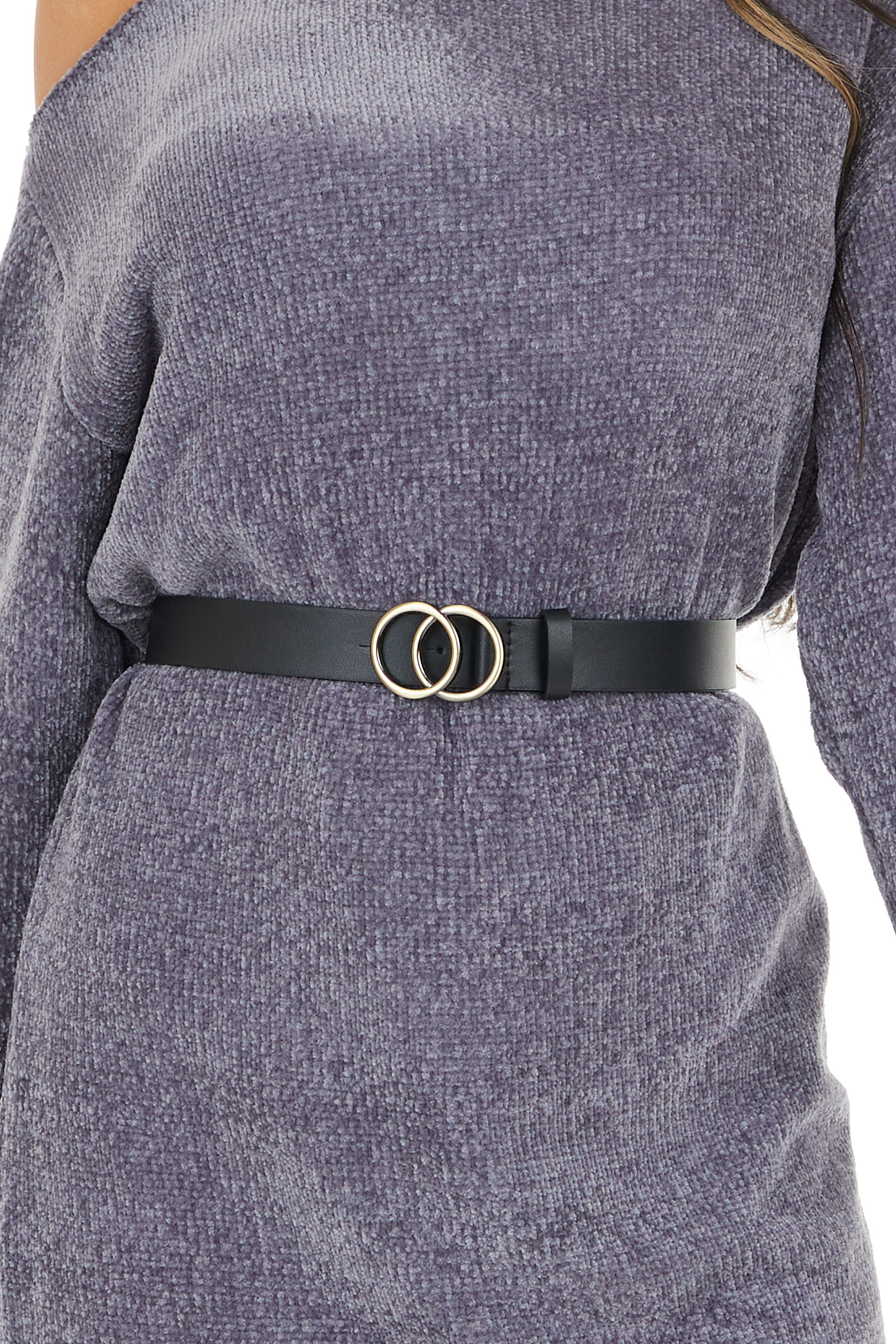 Black Faux Leather Belt with Double Ring Buckle