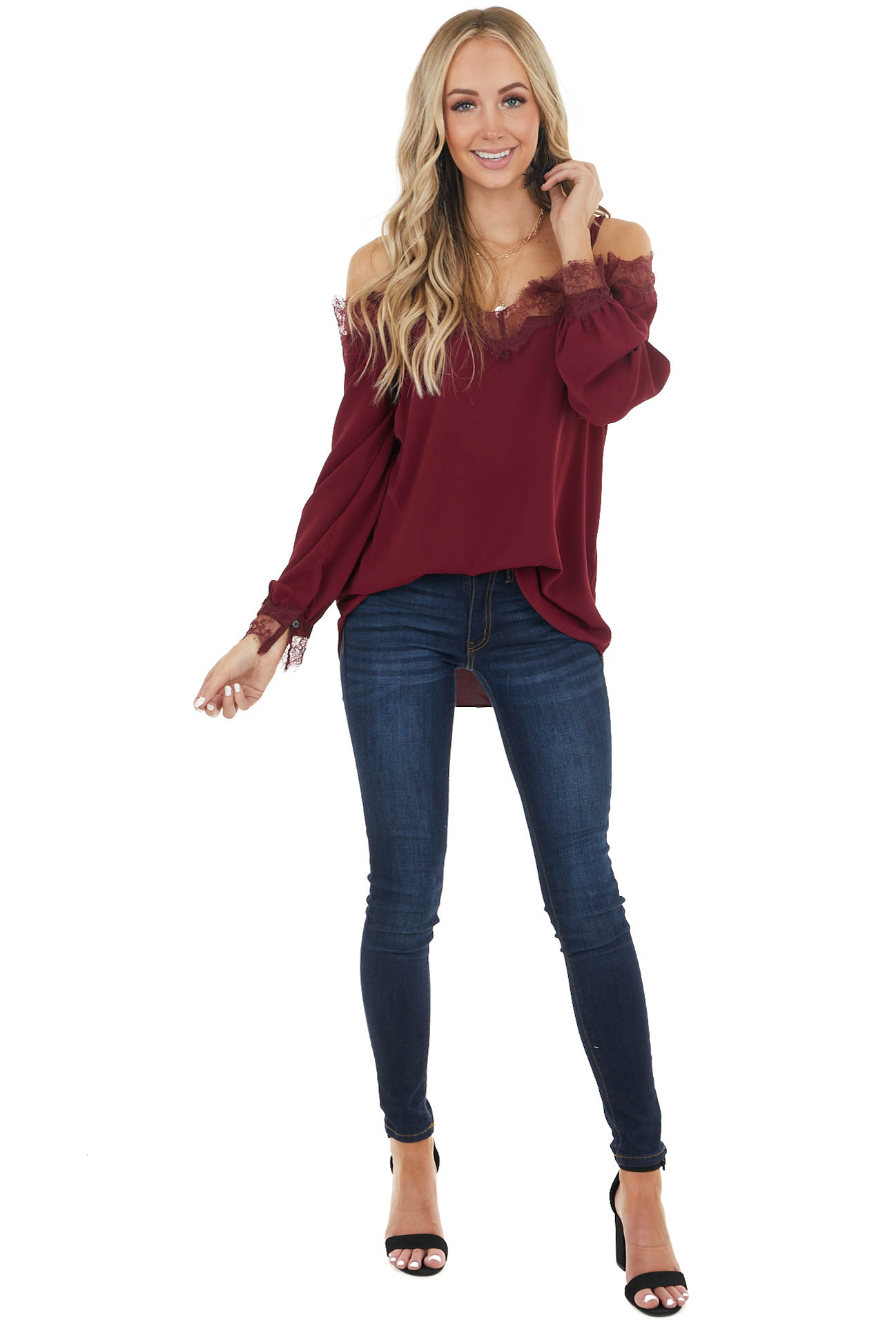 Wine Woven Cold Shoulder Top with Eyelash Lace Details