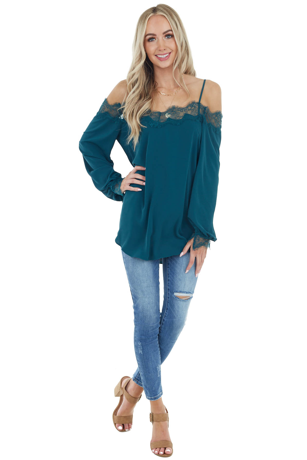 Pine Woven Cold Shoulder Top with Eyelash Lace Details