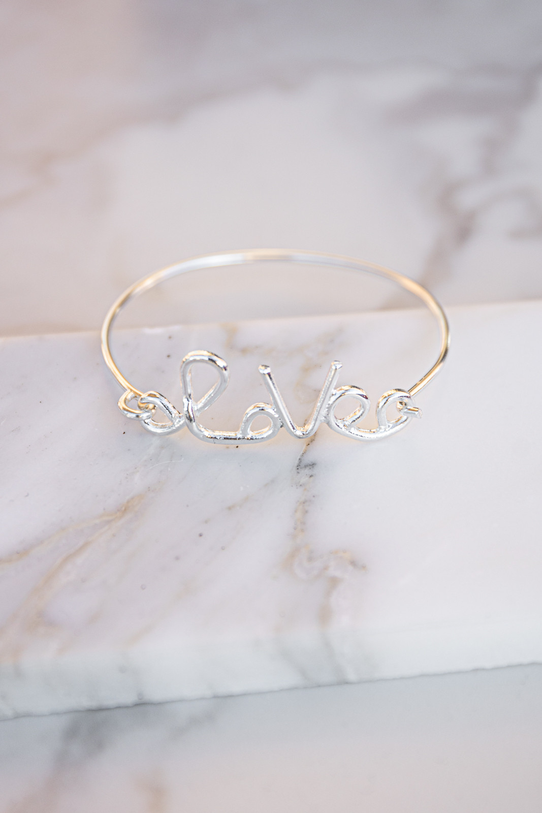 Silver 'Love' Wire Bracelet with Push Hook Closure