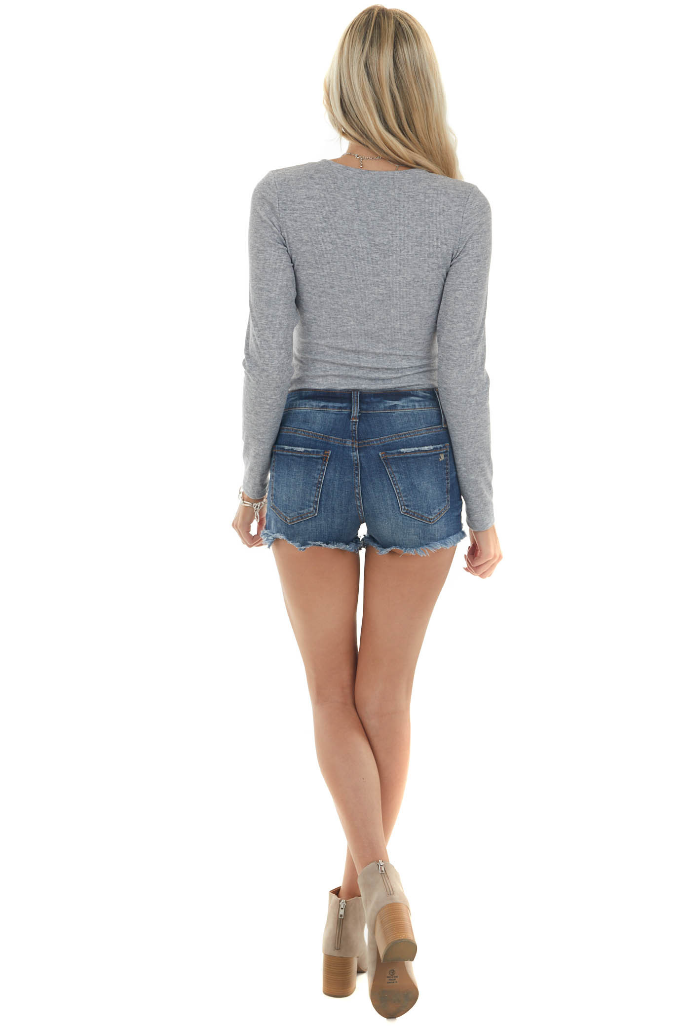 Heather Grey Knit Long Sleeve Bodysuit with Button Details