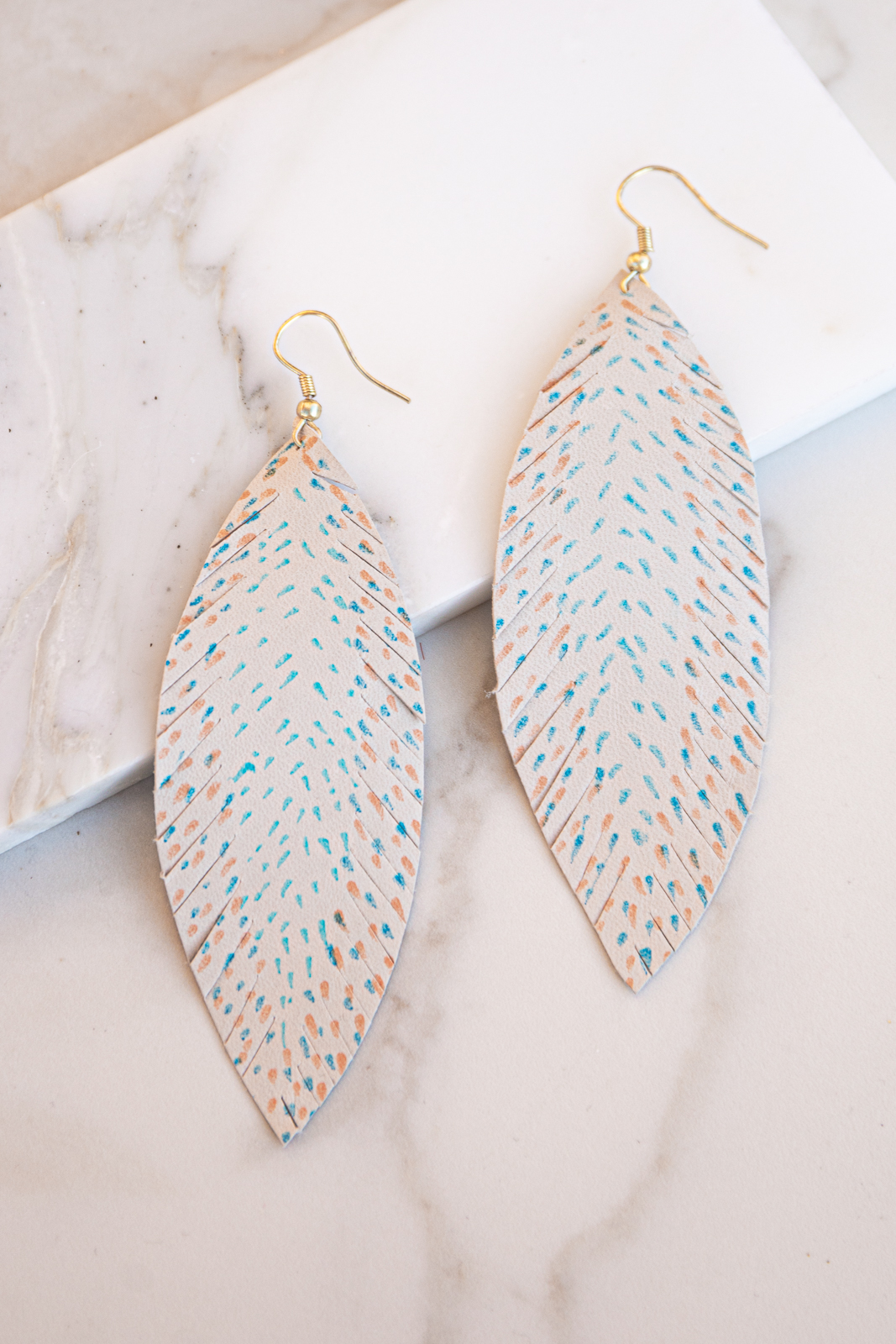 Light Taupe Spotted Feather Dangle Earrings with Fringe
