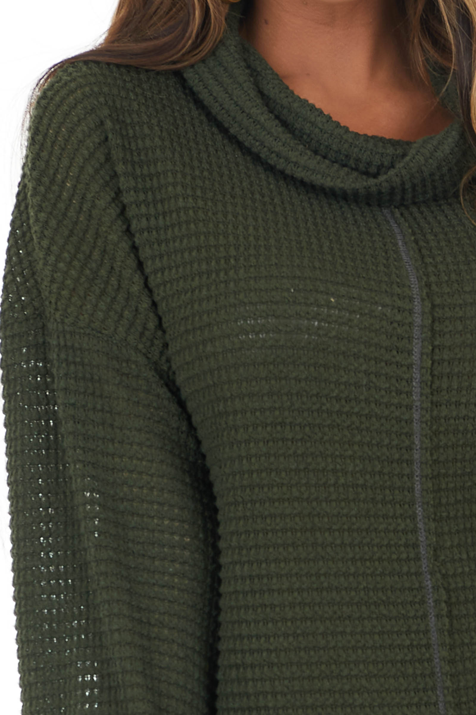 Dark Olive Waffle Knit Long Sleeve Top with Cowl Neckline