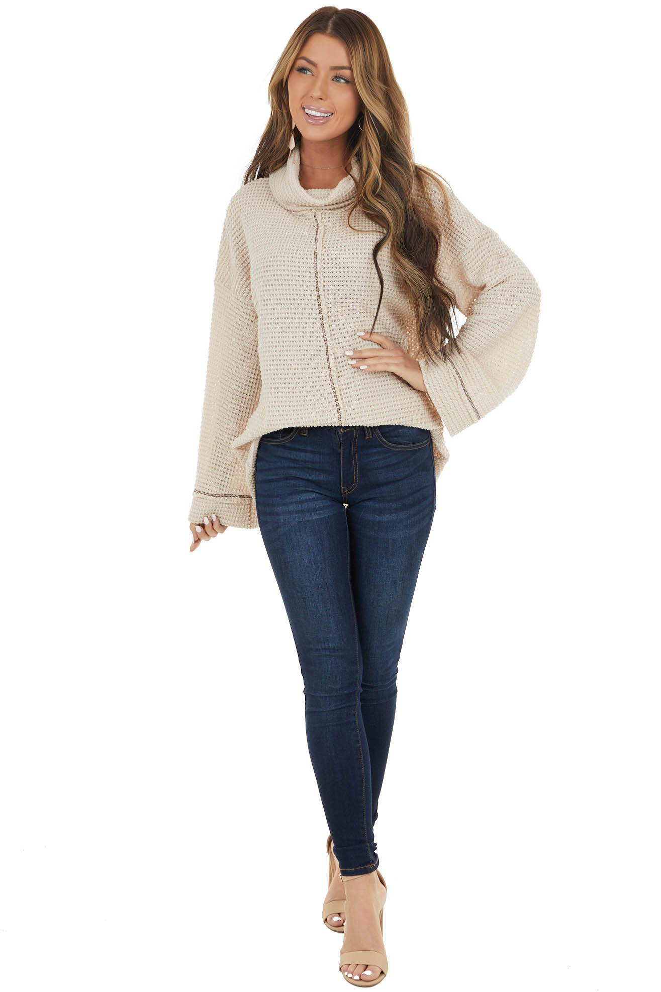 Oatmeal Waffle Knit Long Sleeve Top with Cowl Neckline