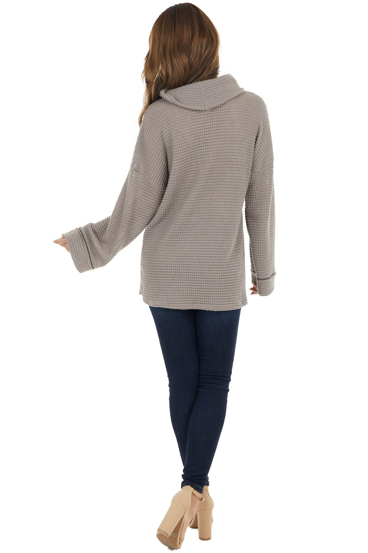 Taupe Waffle Knit Long Sleeve Top with Cowl Neckline