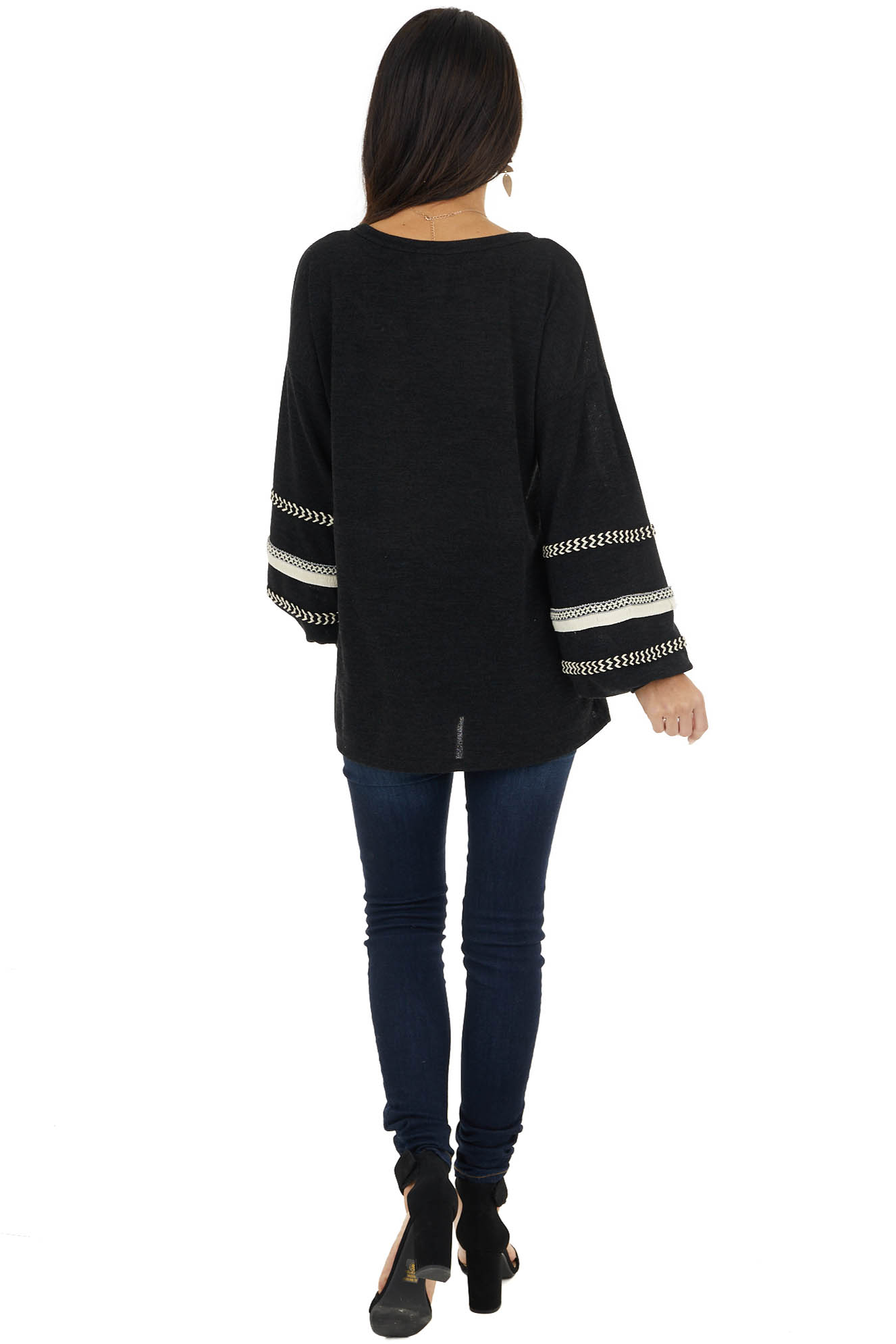 Black Long Bubble Sleeve Top with Textured Thread Detail