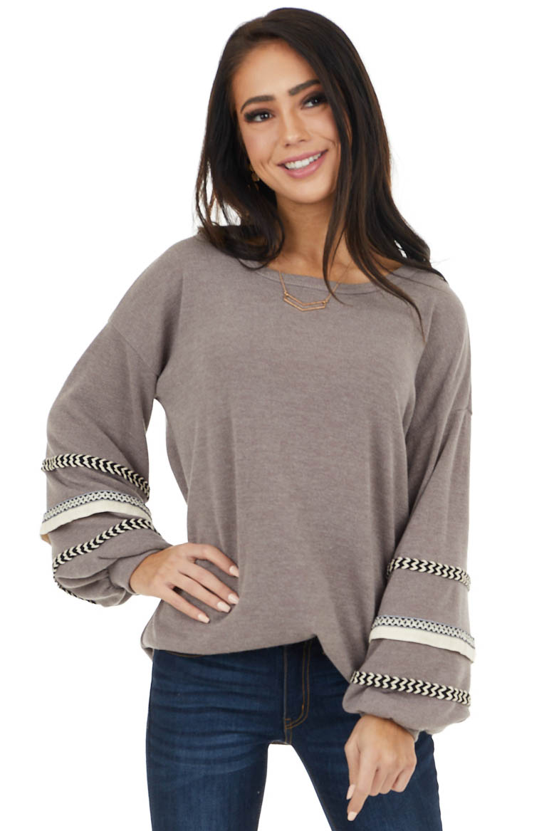 Taupe Long Bubble Sleeve Top with Textured Thread Detail