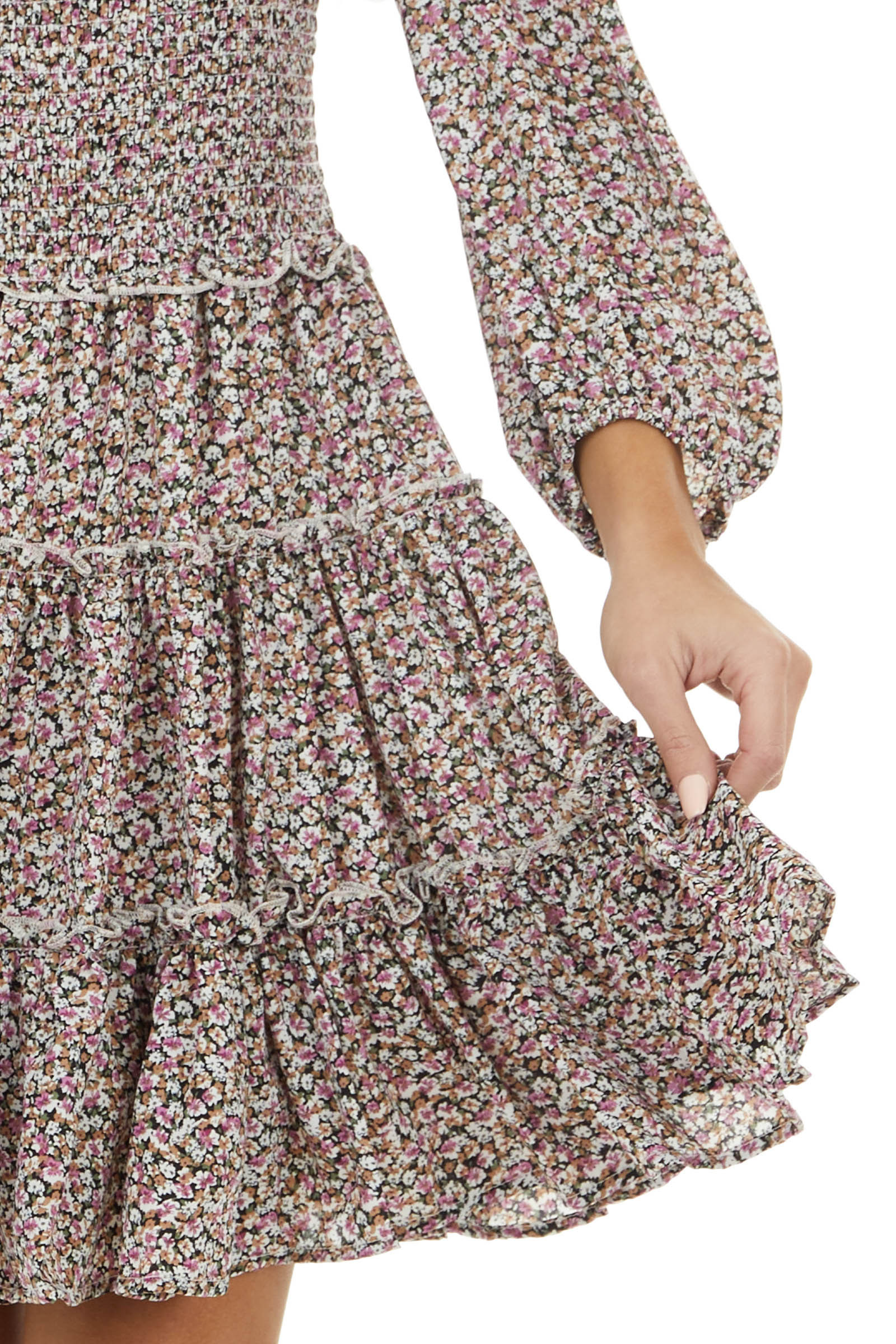Mauve Floral Print Tiered Woven Dress with Smocked Waist