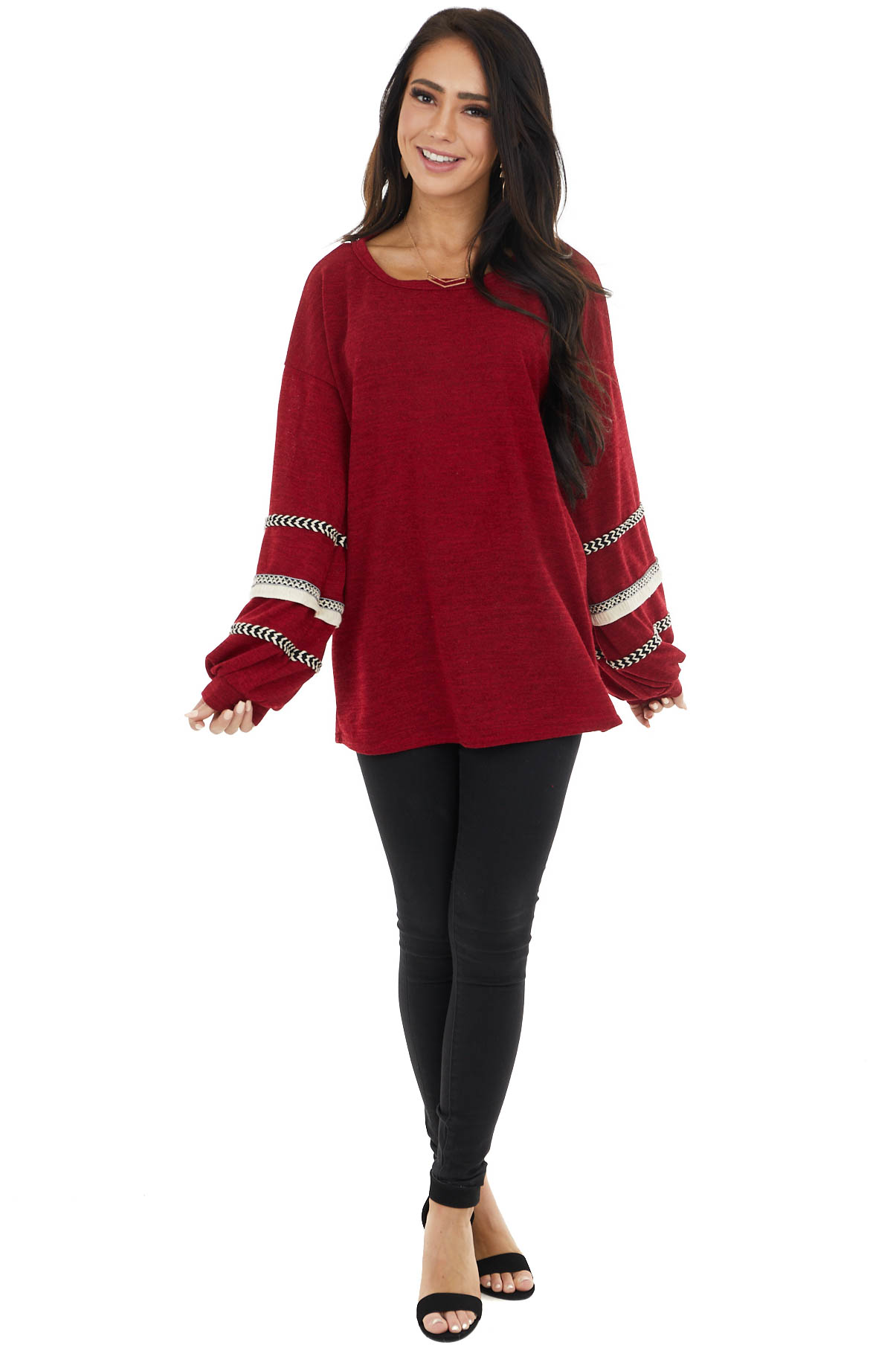 Burgundy Long Bubble Sleeve Top with Textured Thread Detail