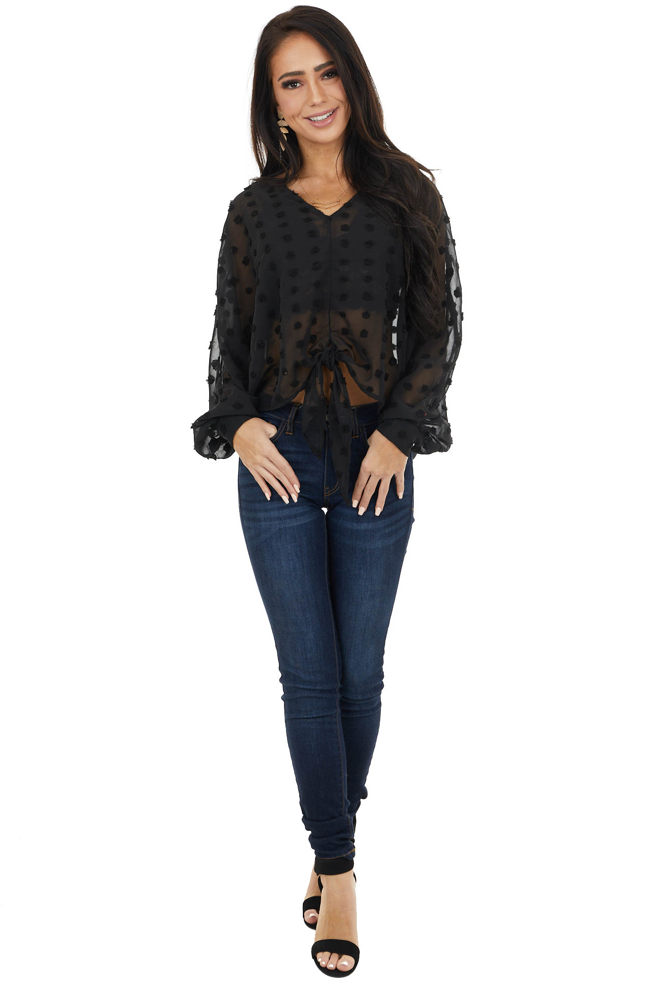 Black Swiss Dot Sheer Woven Top with Long Dolman Sleeves