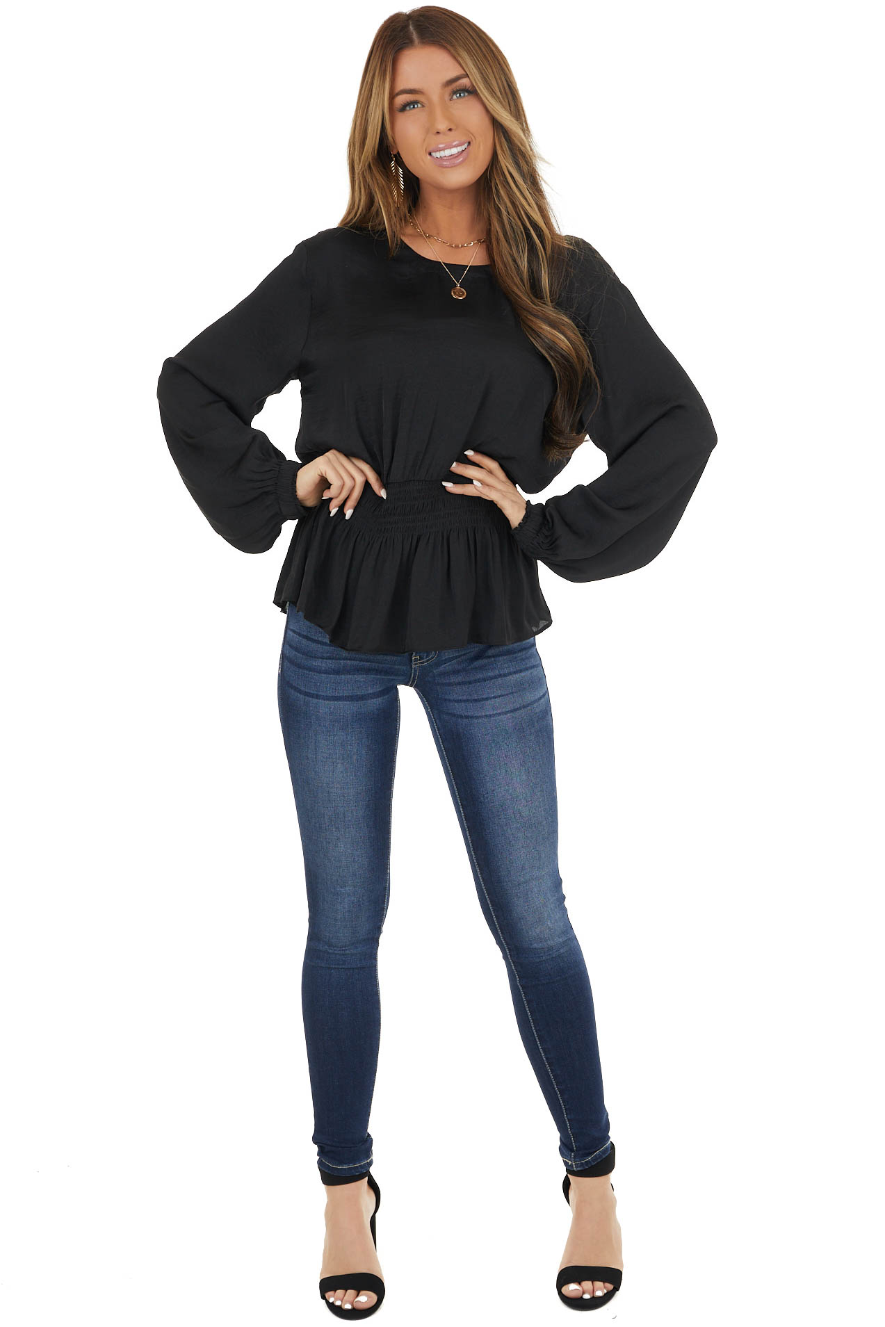 Black High Neck Smocked Waist Blouse with Bubble Sleeves