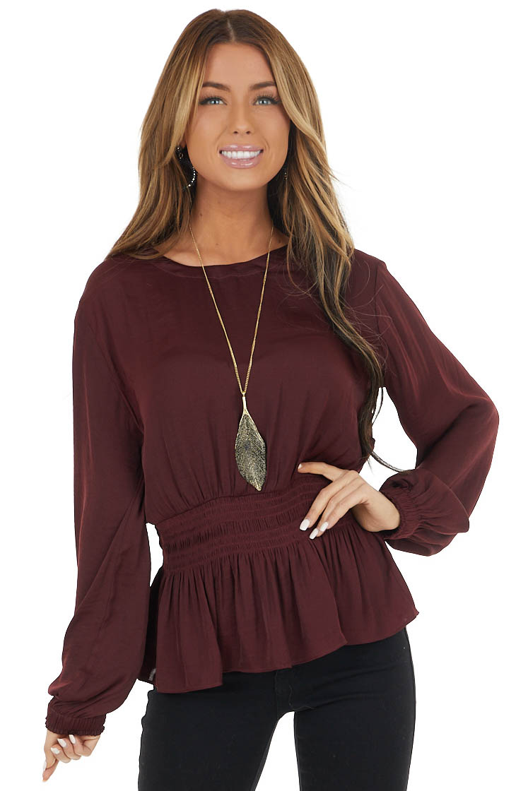 Wine High Neck Smocked Waist Blouse with Bubble Sleeves