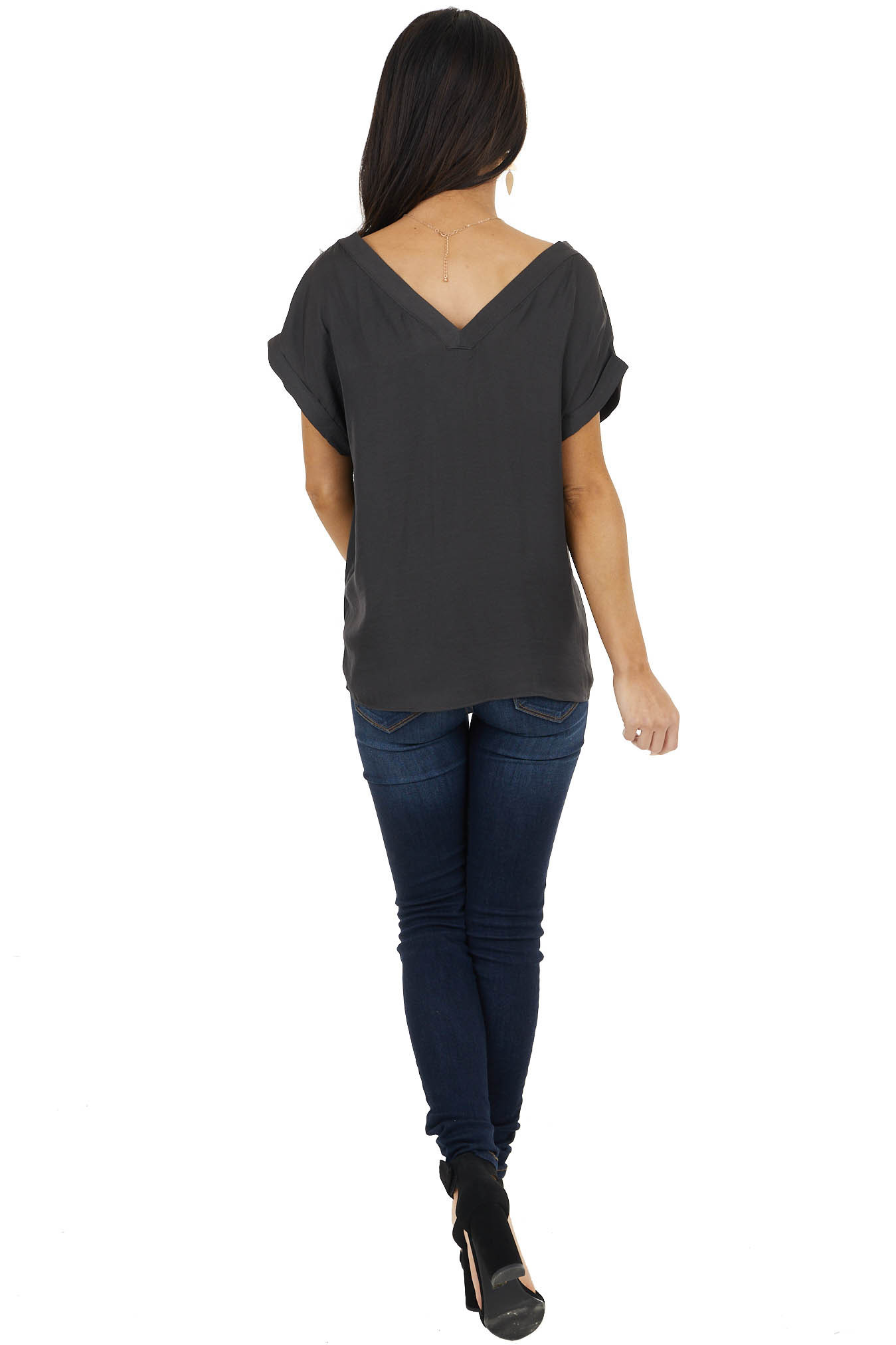 Charcoal Silky Short Cuffed Sleeve Blouse with V Neckline
