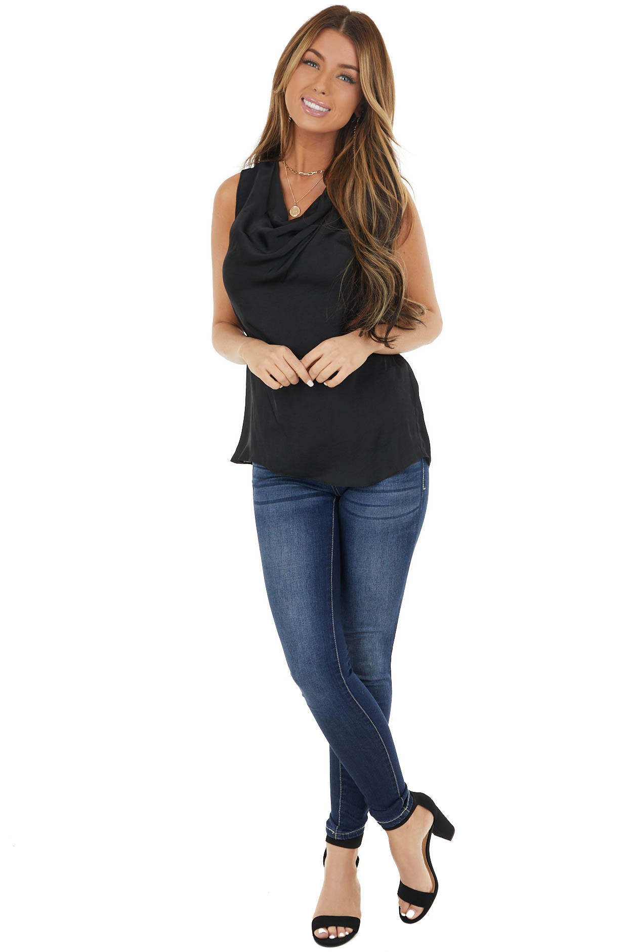 Black Sleeveless Soft Woven Top with Pleated Detail