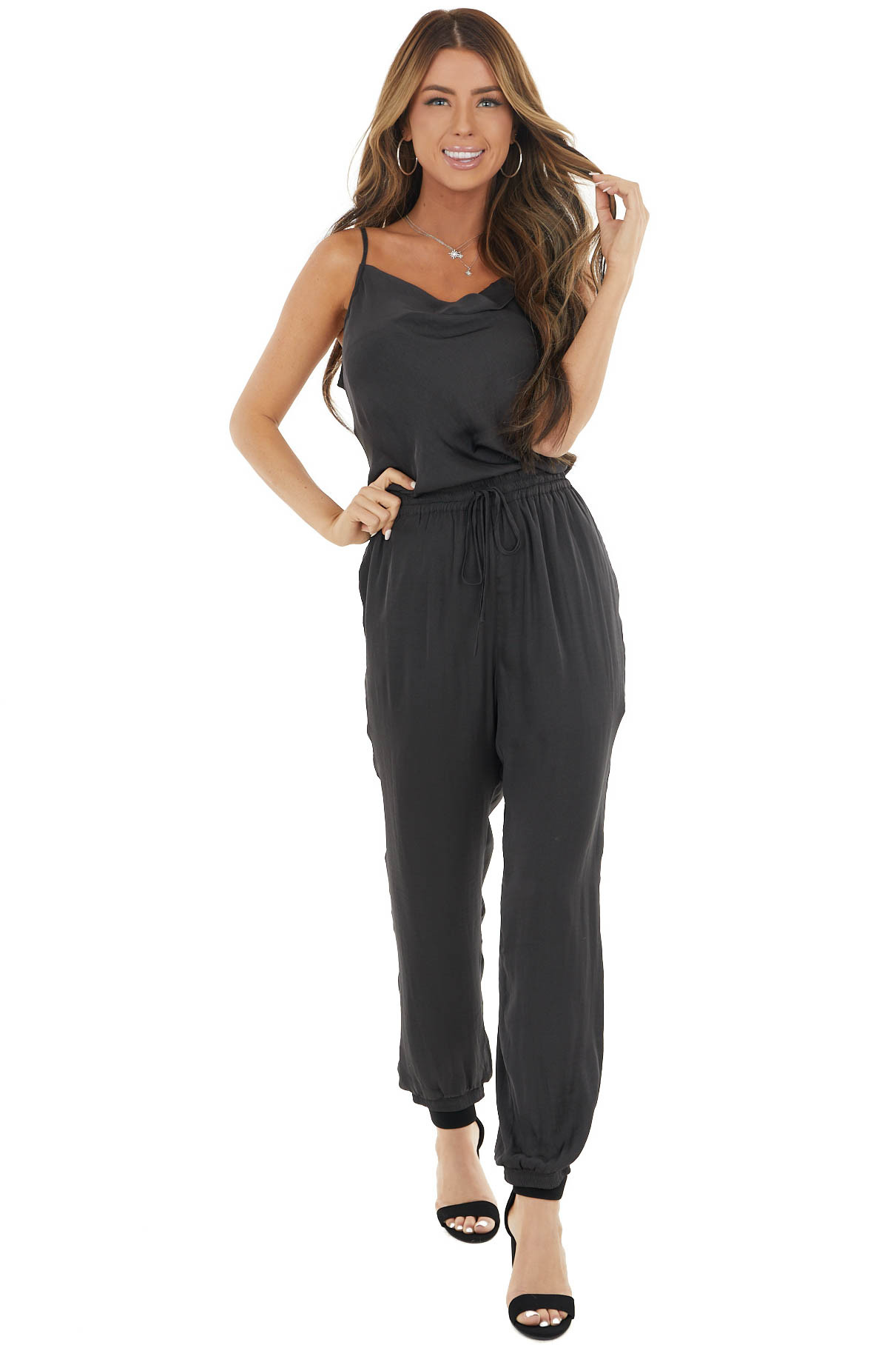 Graphite Sleeveless Silky Woven Jumpsuit with Elastic Waist