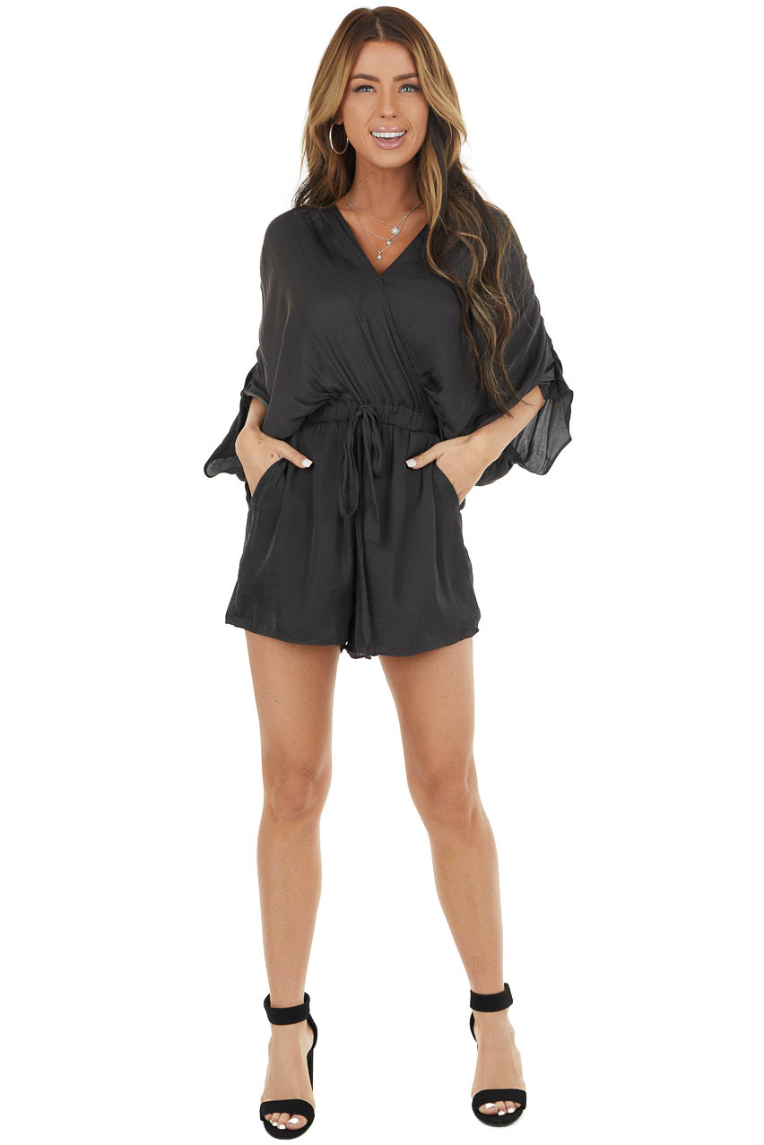 Rich Graphite Satin Short Dolman Sleeve Surplice Romper