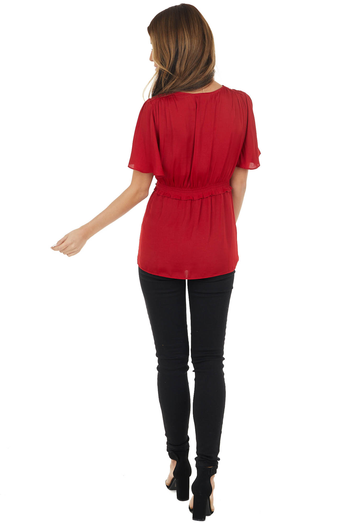 Cherry Red Flutter Sleeve Babydoll Top with Ruffled Detail