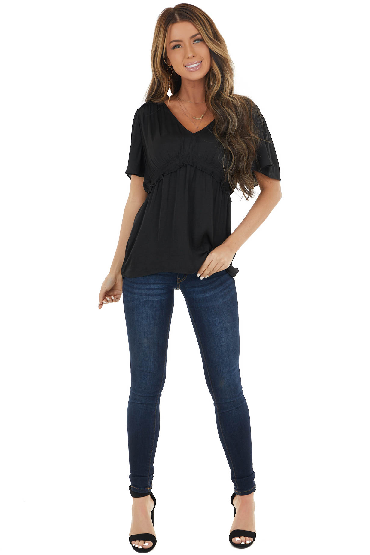Black Flutter Sleeve Babydoll Top with Ruffled Detail