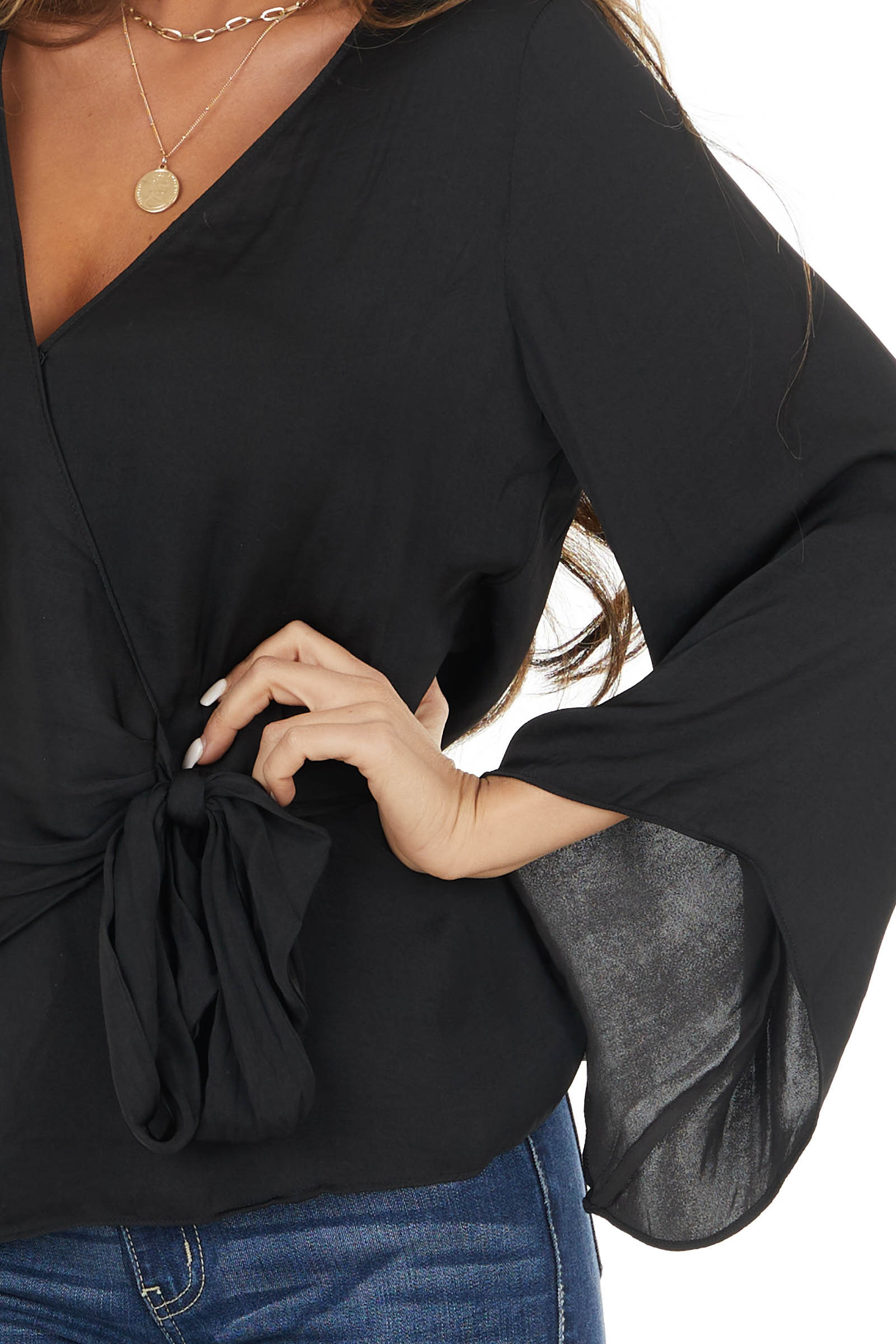 Black Surplice Asymmetrical Bell Sleeve Blouse with Tie