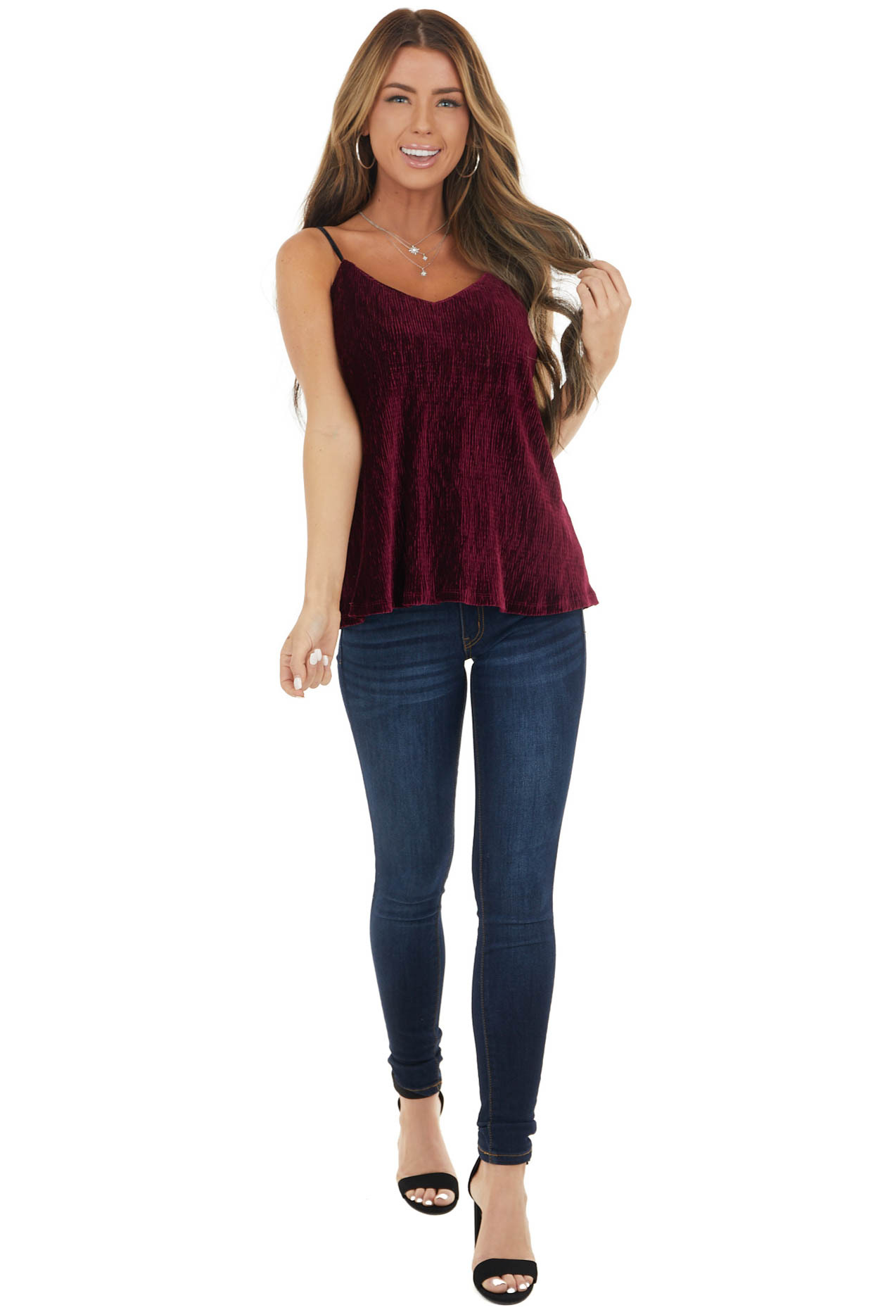 Wine Ribbed Knit Velvet Camisole with Adjustable Straps