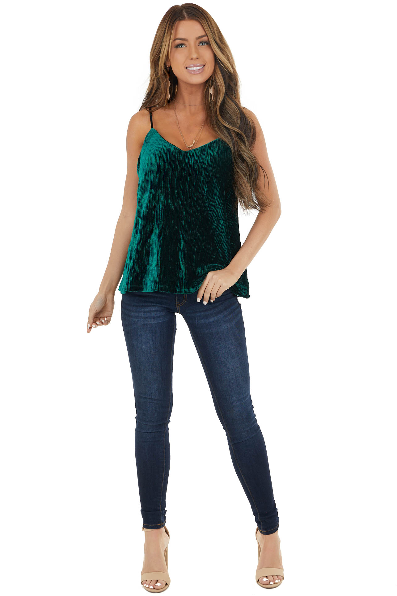 Forest Green Ribbed Velvet Camisole with Adjustable Straps