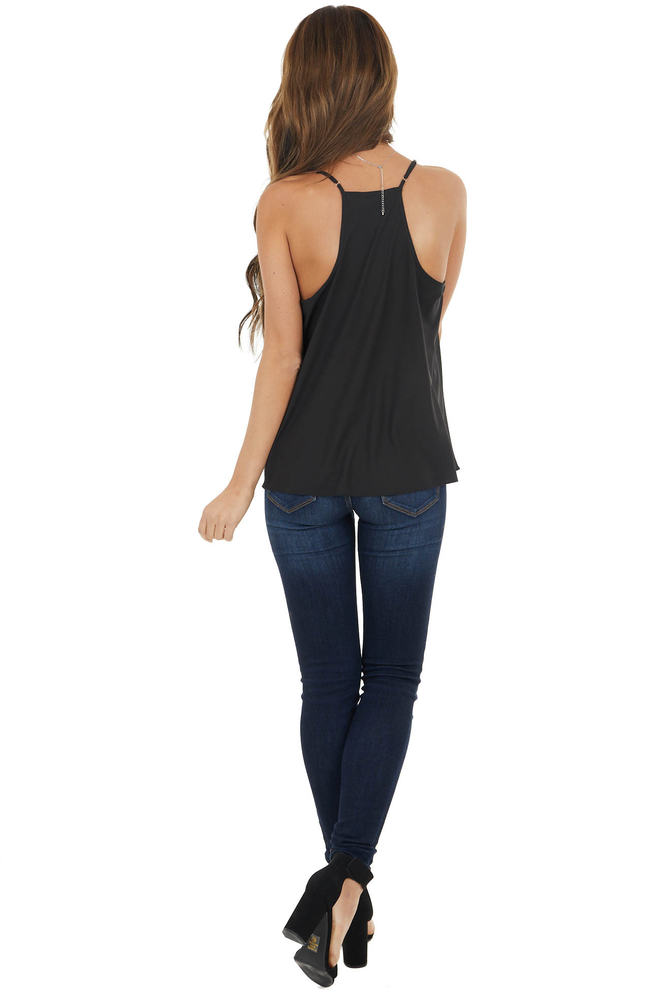 Black Racerback Woven Camisole with Draped Neckline