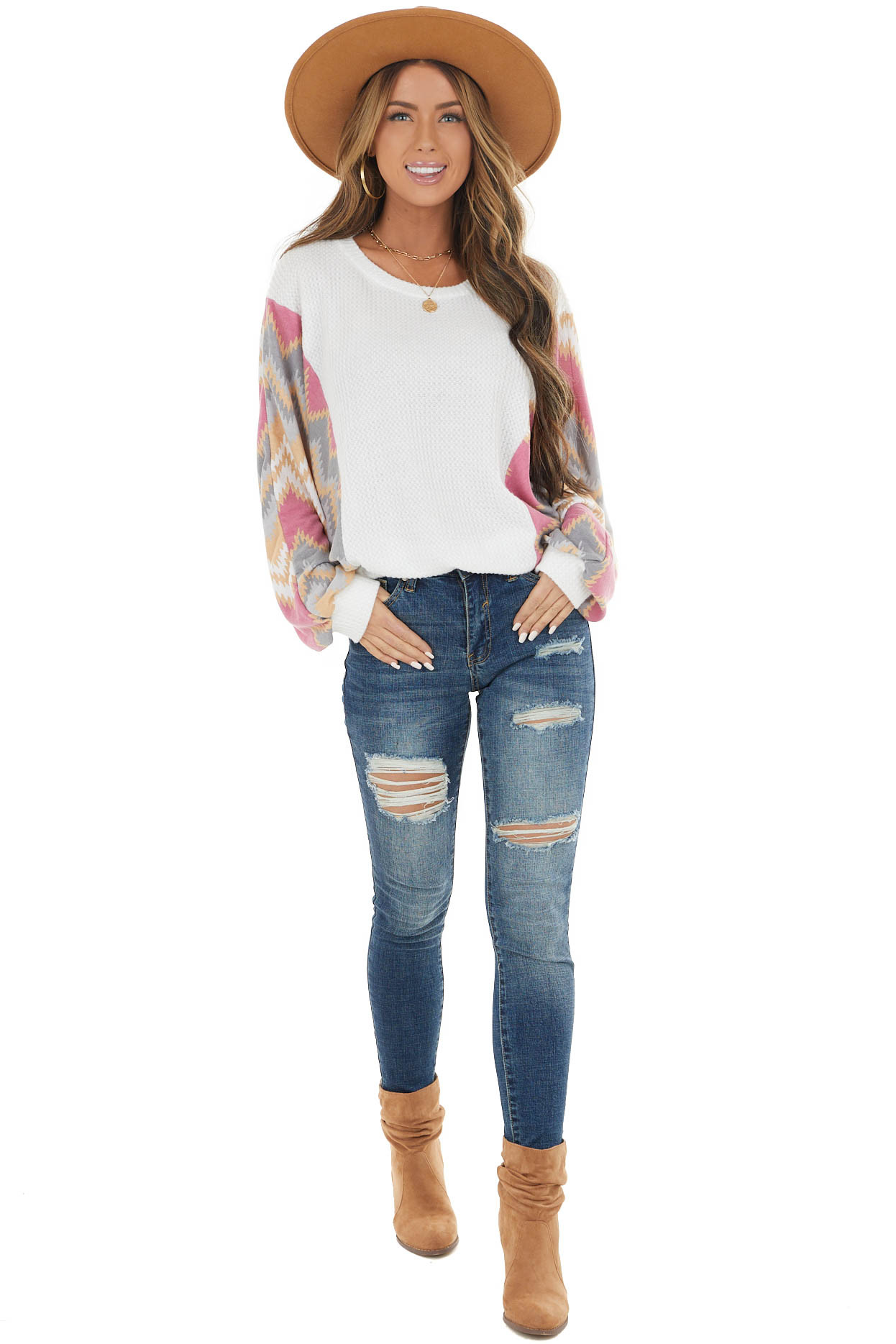 Off White Waffle Knit Top with Contrast Print Dolman Sleeves
